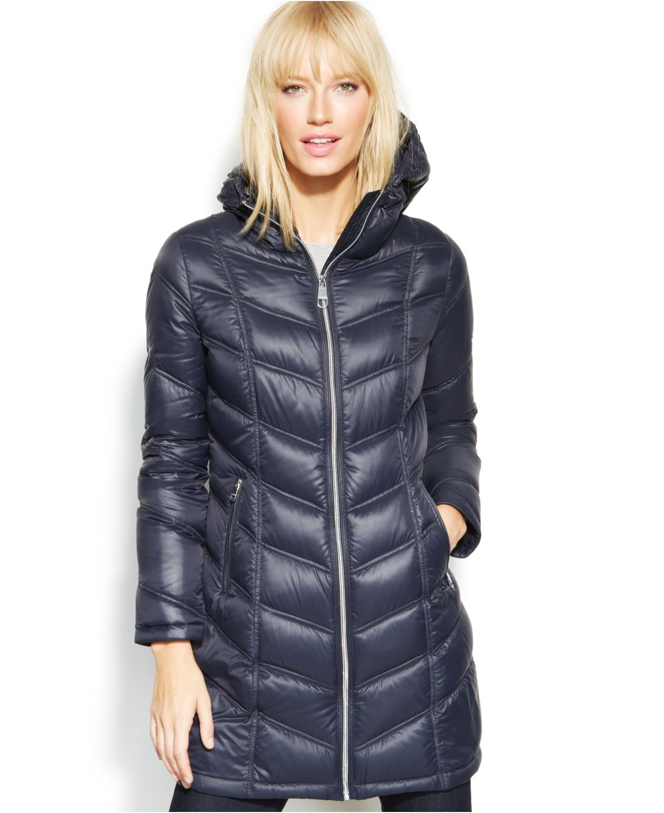 Calvin Klein Quilted Down Packable Puffer Coat In Blue Lyst