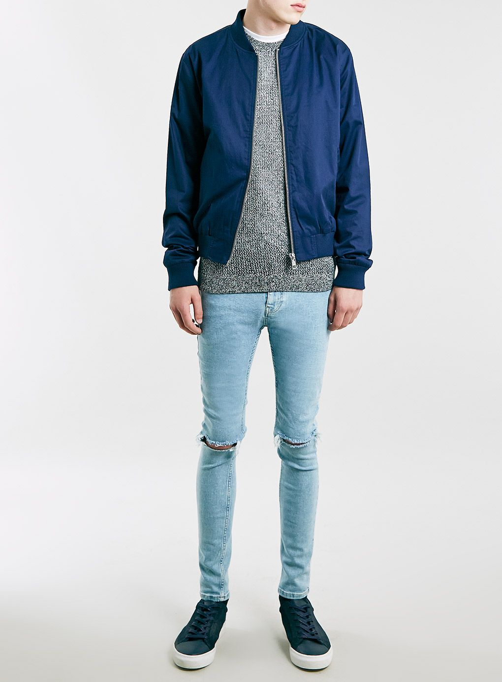 Topman Light Wash Ripped Spray On Skinny Jeans in Blue for Men | Lyst