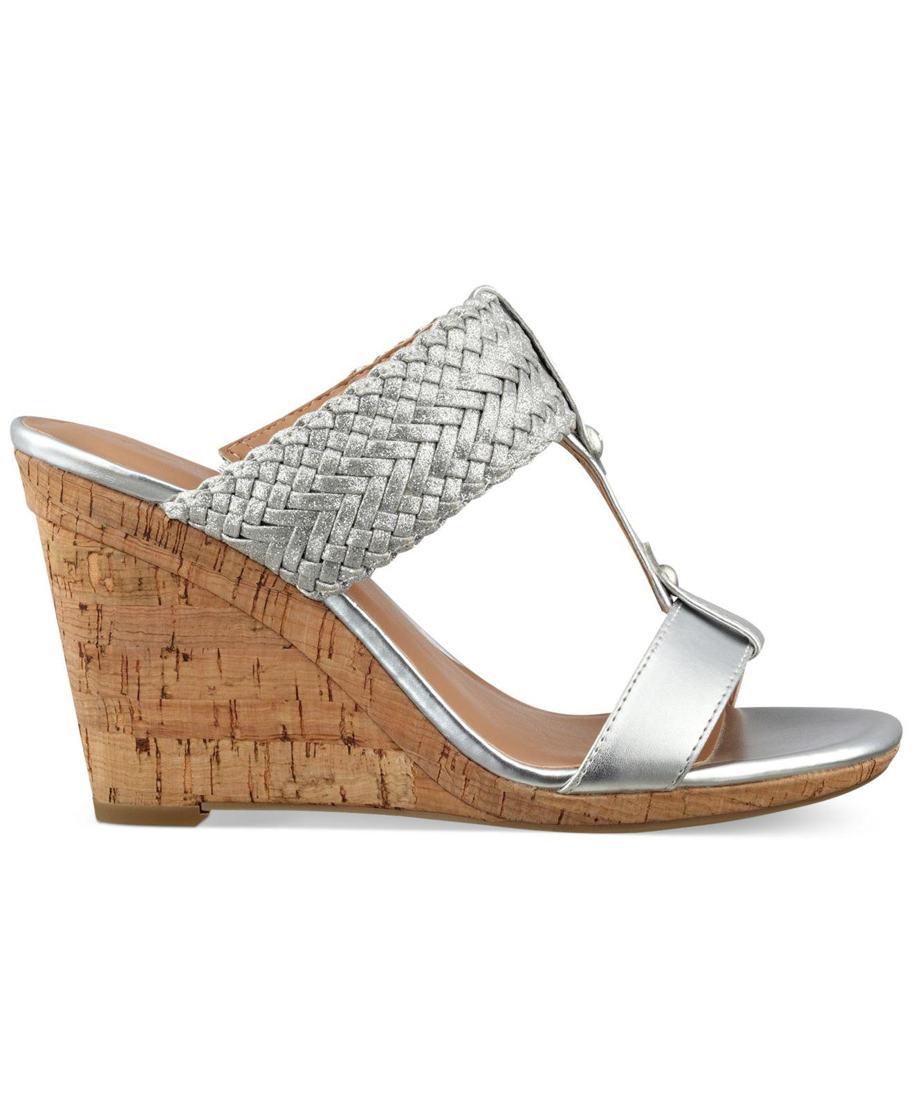 hilfiger s eleona wedge sandals in metallic lyst