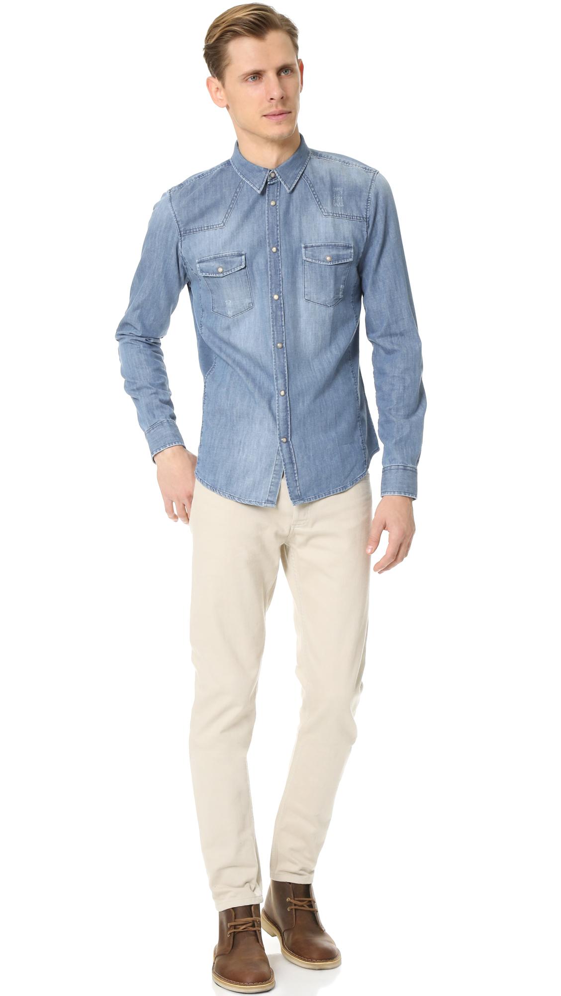 42c348fd5b8 The Kooples Sport Distressed Denim Shirt in Blue for Men - Lyst