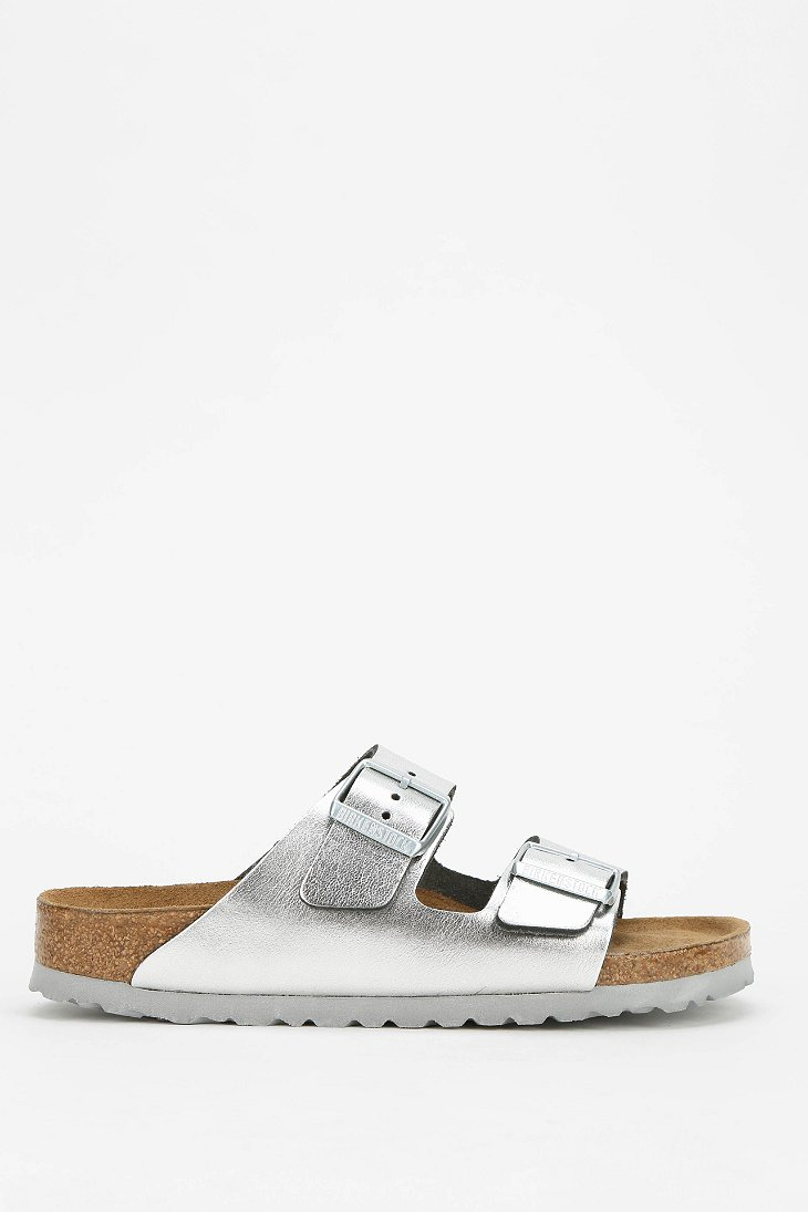 lyst birkenstock arizona metallic leather slide sandal. Black Bedroom Furniture Sets. Home Design Ideas