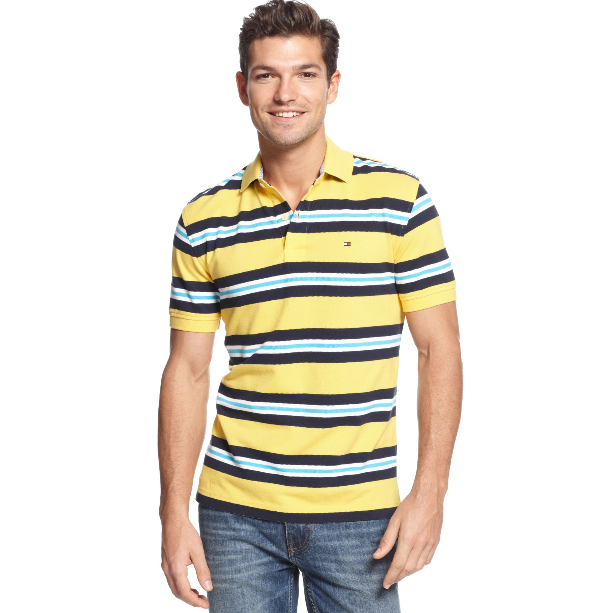 tommy hilfiger millford polo shirt in yellow for men taxi. Black Bedroom Furniture Sets. Home Design Ideas