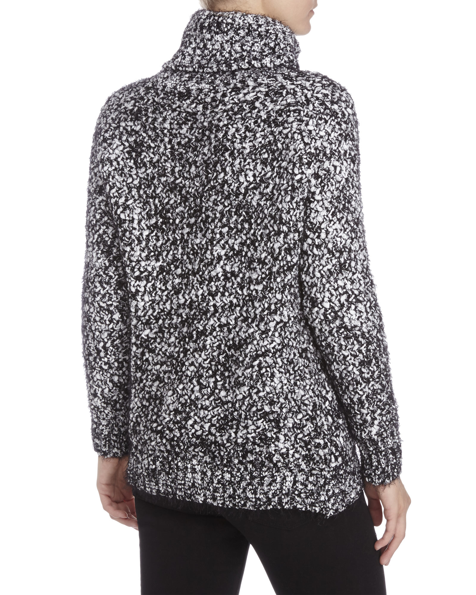 Pol Black & White Marled Knit Turtleneck Sweater in Black | Lyst