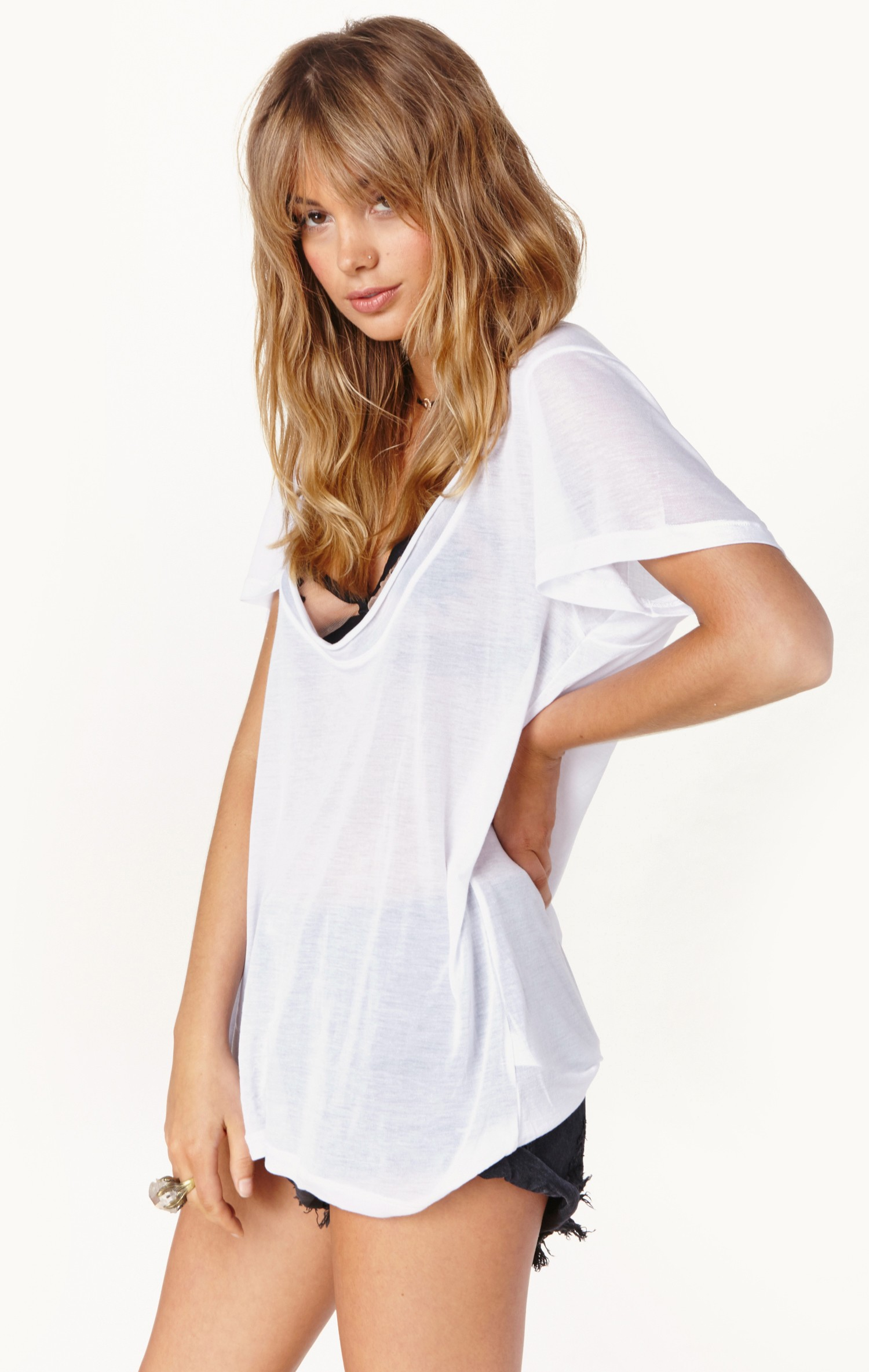 Planet Blue Super Low Scoop Tee In White Wht Lyst
