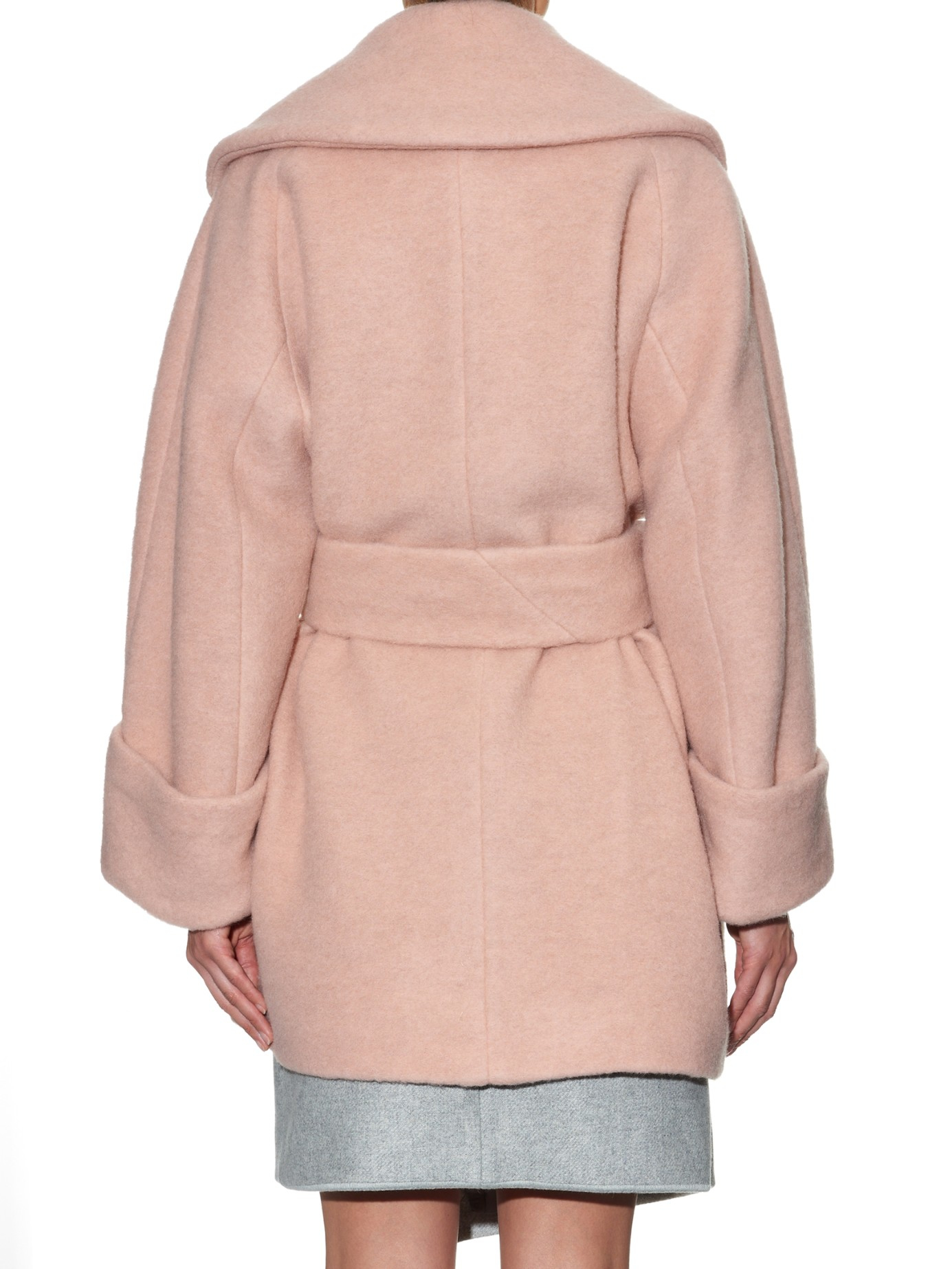 Carven Over Sized Wool Coat in Pink | Lyst
