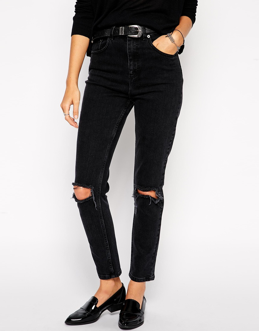 lyst asos farleigh high waist slim mom jeans in washed. Black Bedroom Furniture Sets. Home Design Ideas