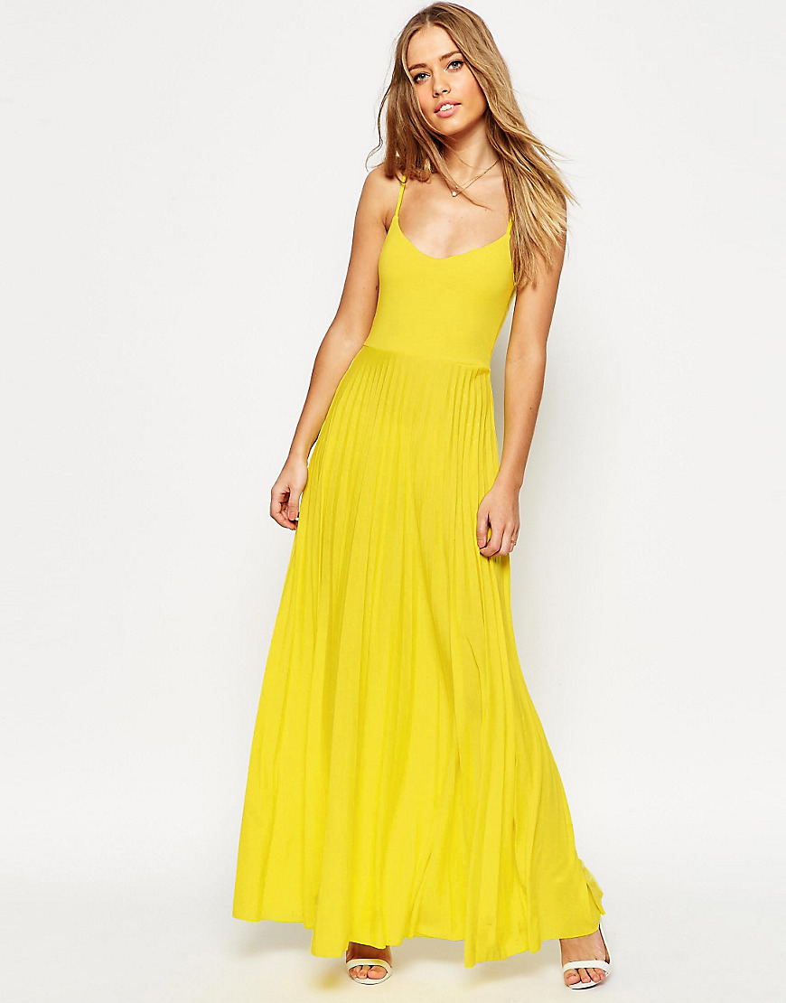 5e6346ea62 ASOS Cami Maxi Dress With Pleated Skirt in Yellow - Lyst