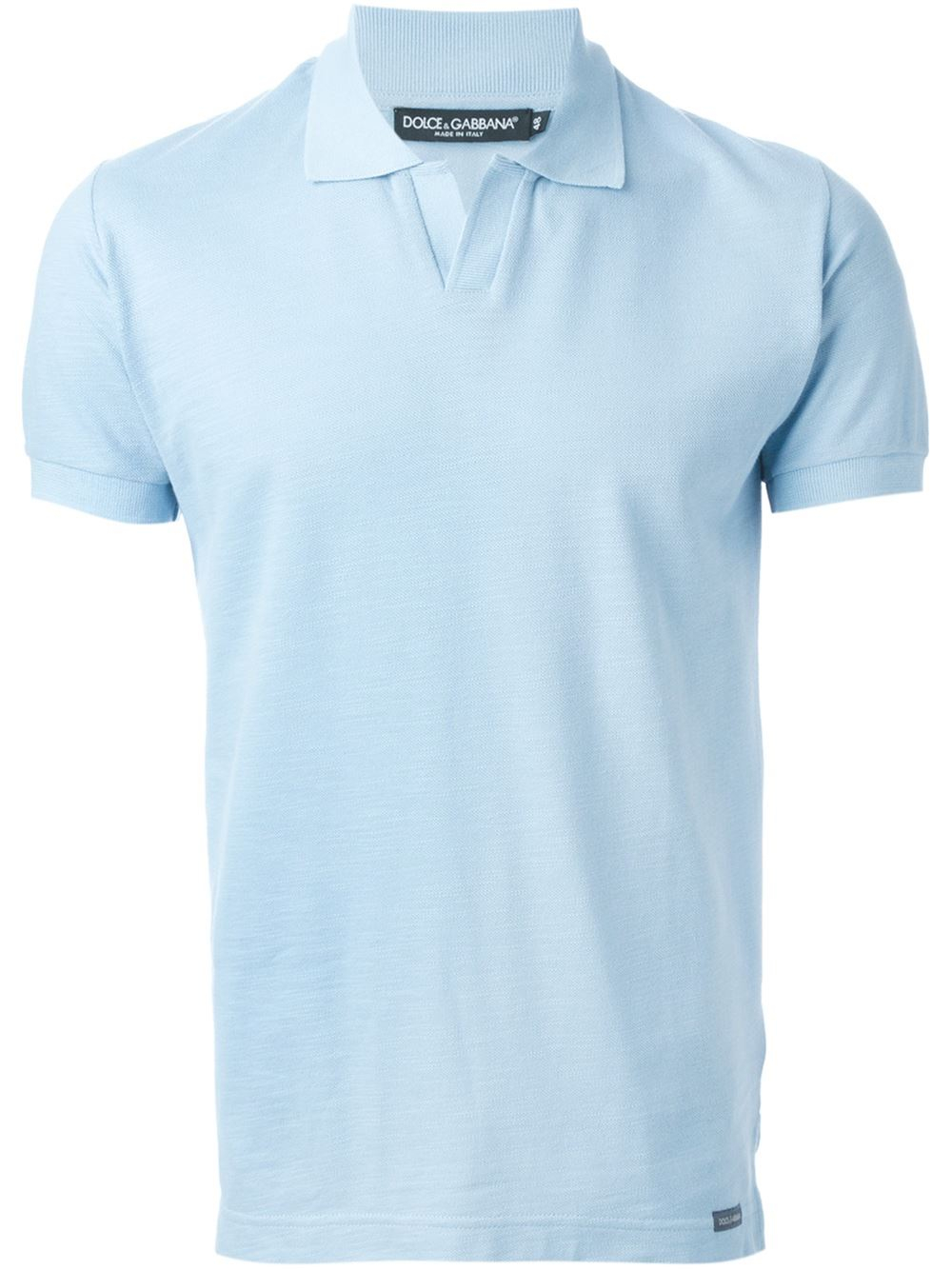 Dolce gabbana v neck cotton polo shirt in blue for men for Cotton polo shirts for men