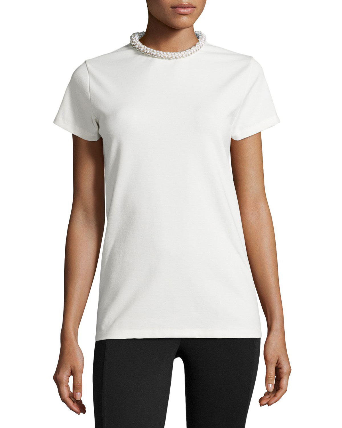 Lyst stella mccartney embellished crewneck tee in white for Stella mccartney t shirt