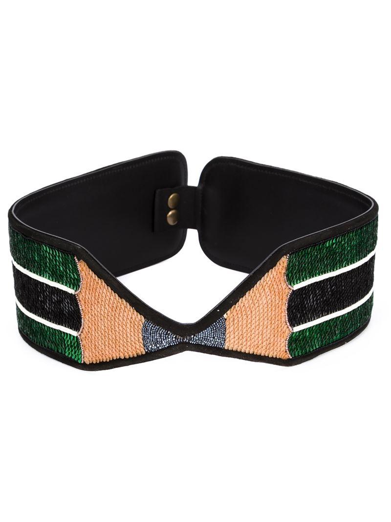 olympia le wide pencil belt in green lyst