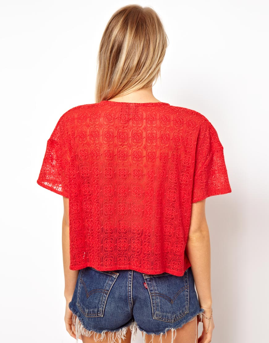 Asos t shirt in embroidered mesh in yellow lyst for Embroidered mesh t shirt