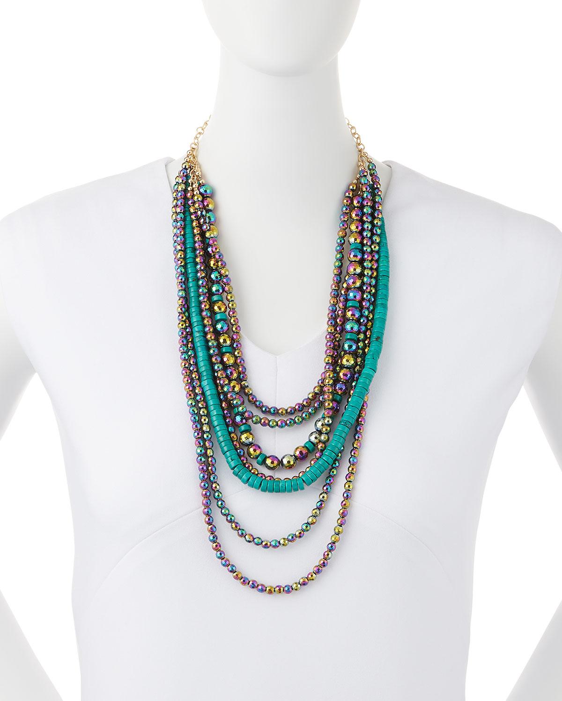 Devon Leigh Multi-Strand Coral & Turquoise Necklace AmvIM