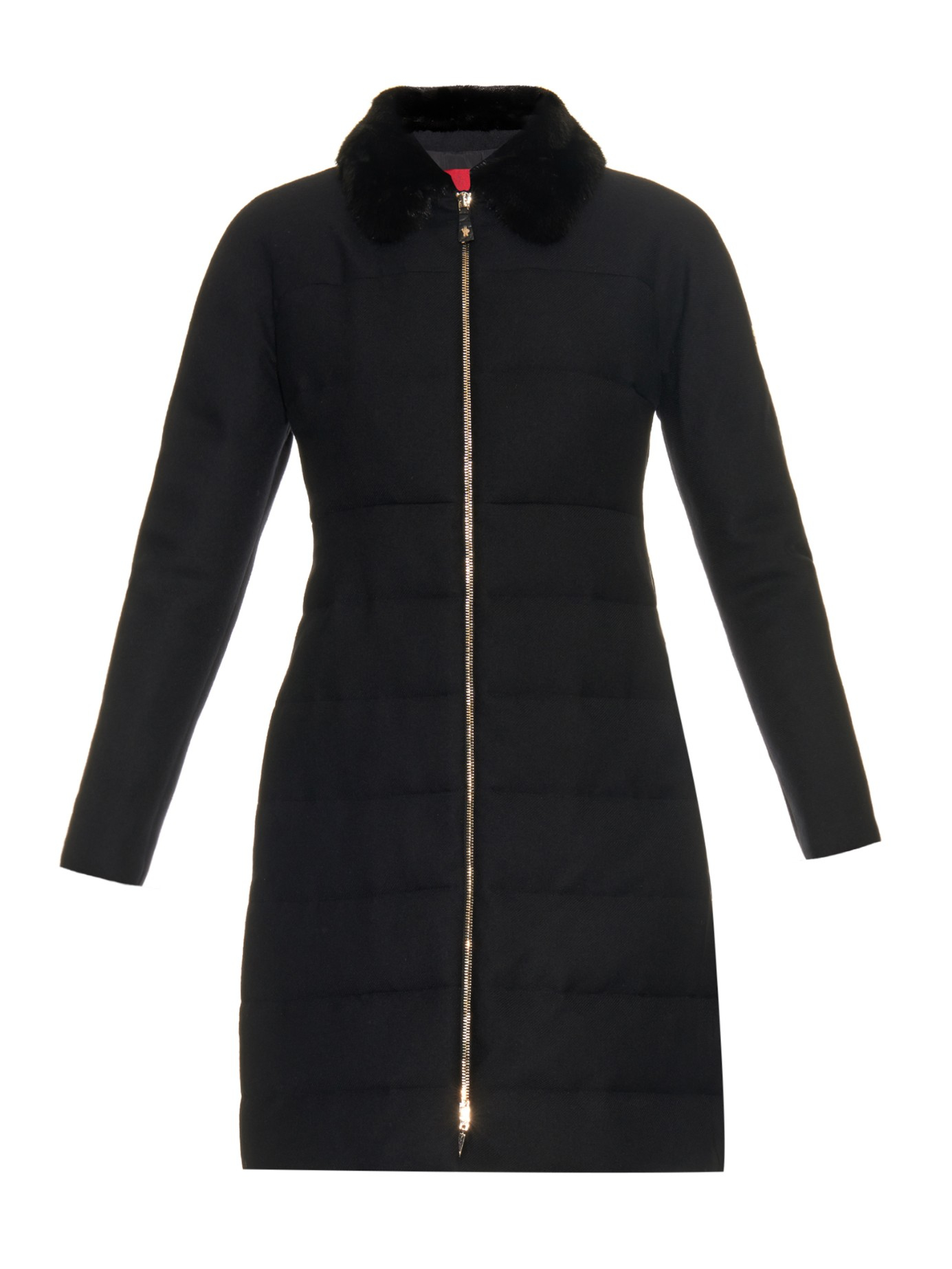 Moncler Gamme Rouge Quilted Down Fur Collar Coat In Black