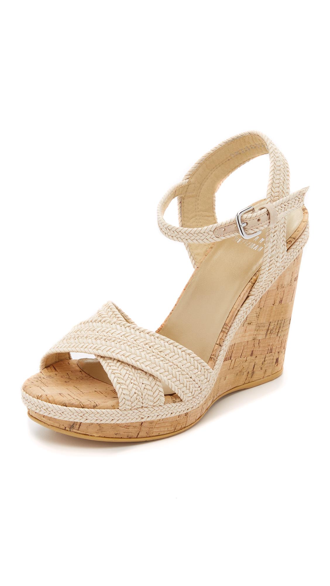 1eda186aeb5 Lyst - Stuart Weitzman Minx Wedge Sandals in White
