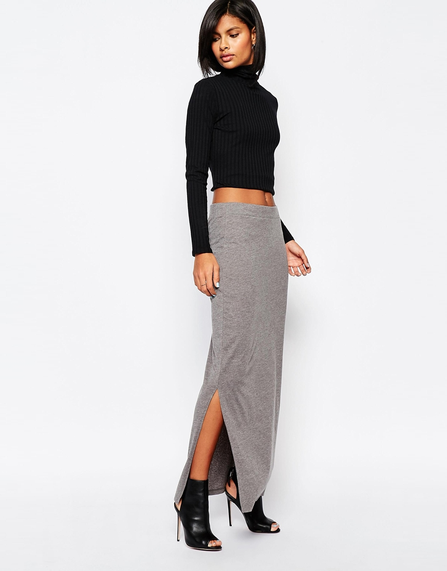 Gray jersey maxi skirt – Modern skirts blog for you