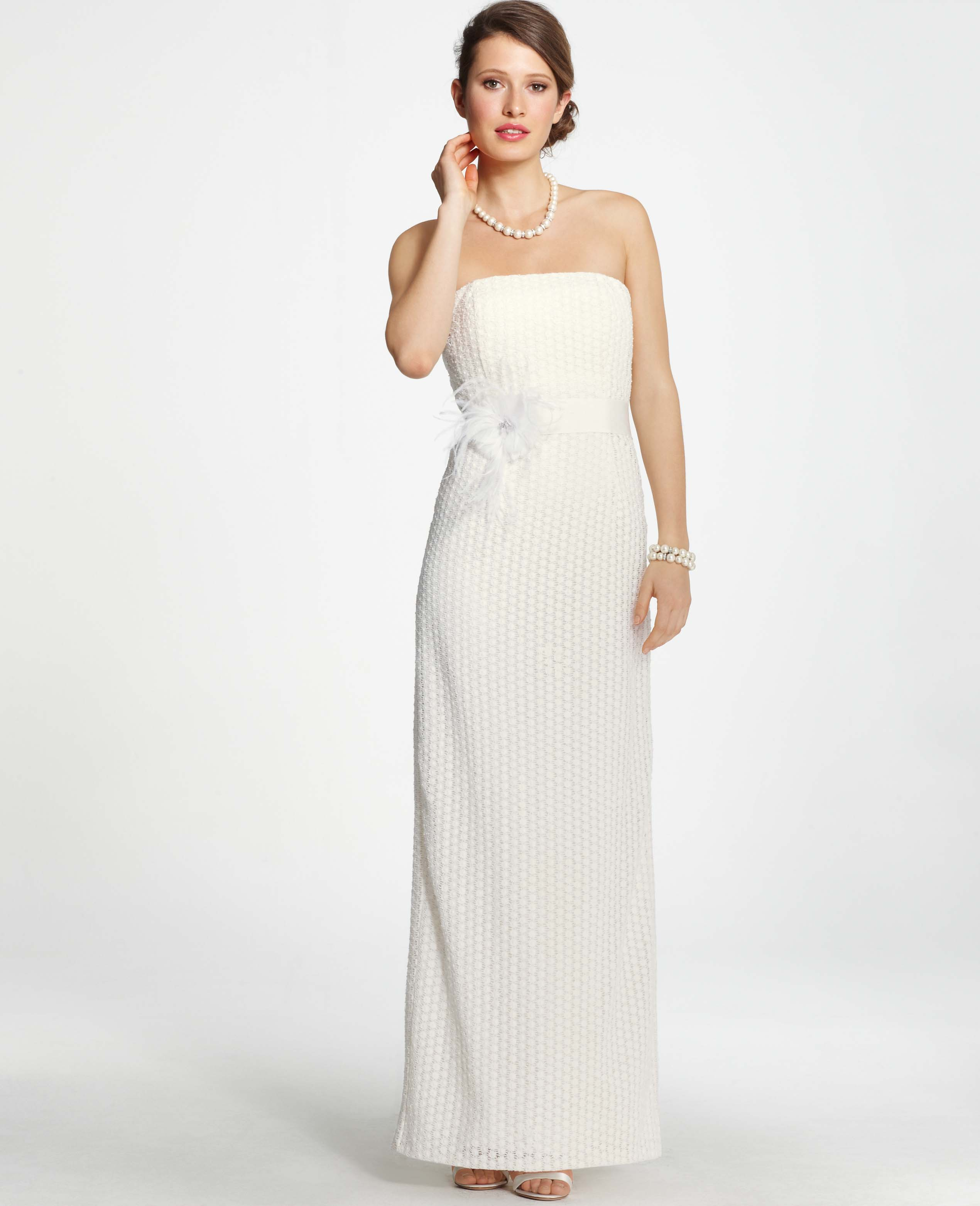 Lyst - Ann Taylor Lace Column Wedding Dress in White