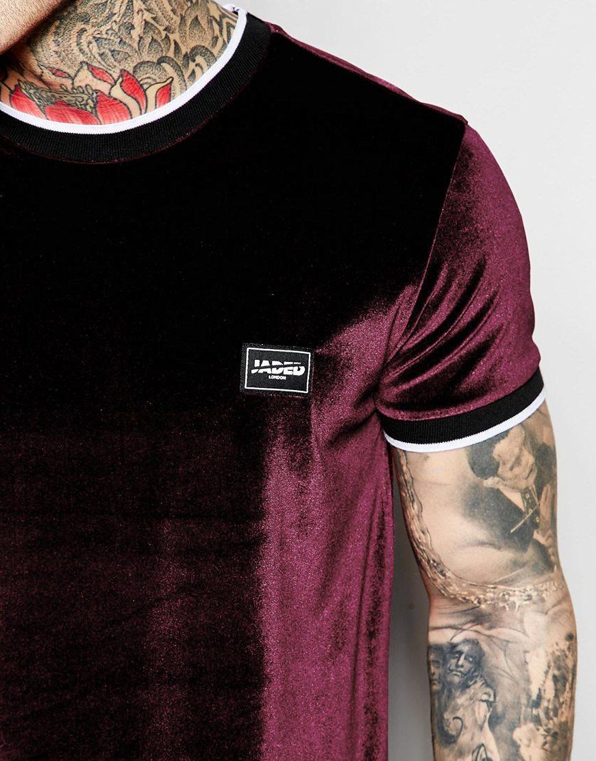 Lyst Jaded London Velour T Shirt In Purple For Men