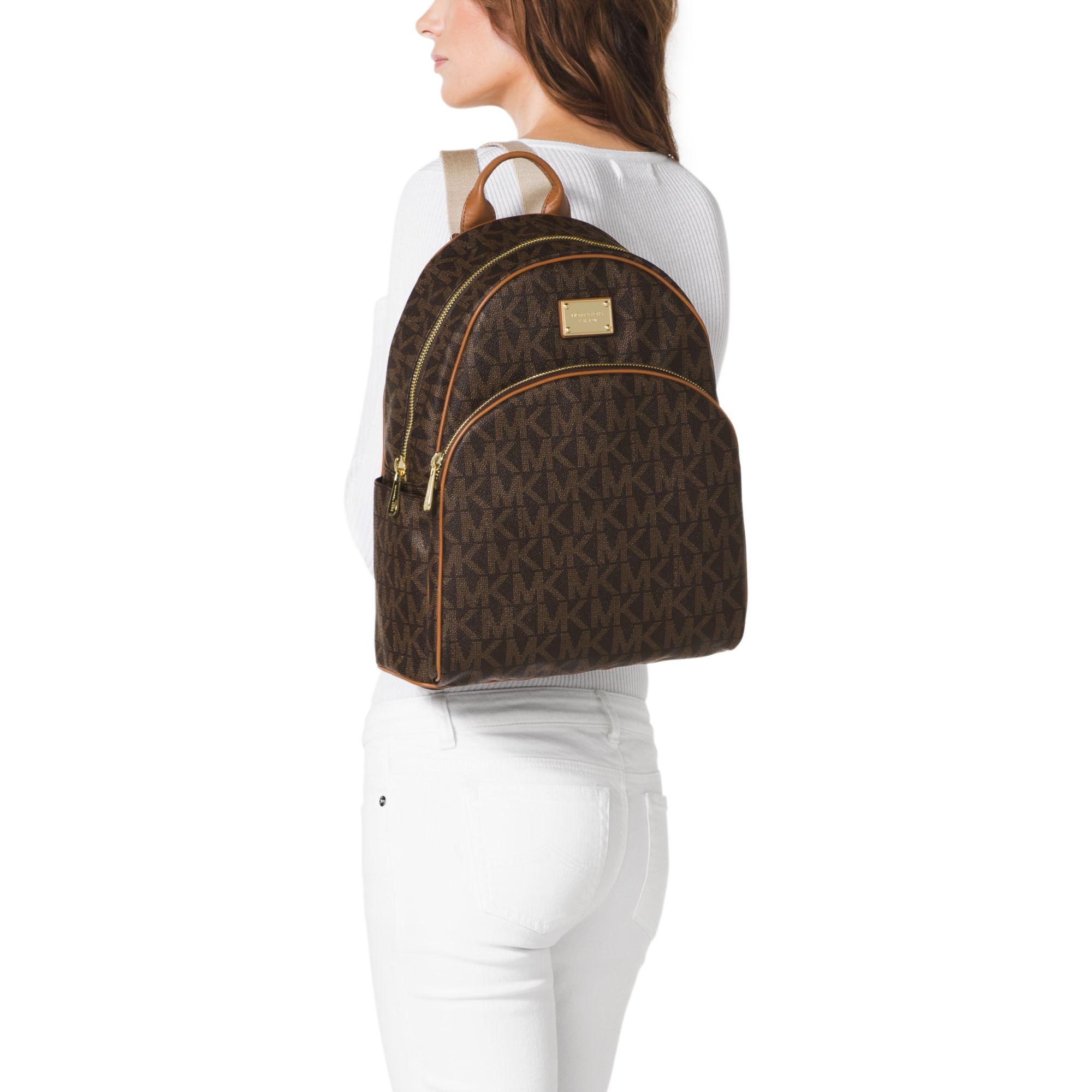 00ad3250eb10 cheap lyst michael kors jet set travel logo backpack in brown 07116 984cd