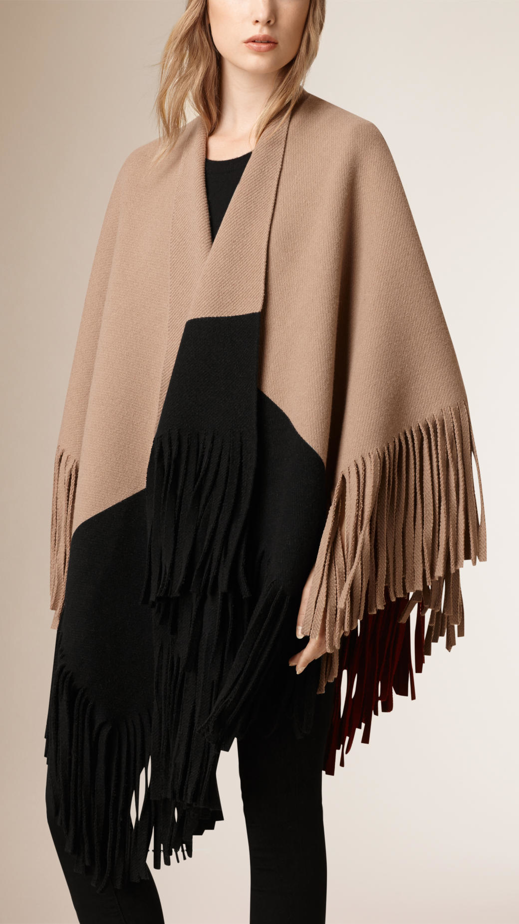Lyst Burberry Fringed Felted Wool Cashmere Poncho In Natural