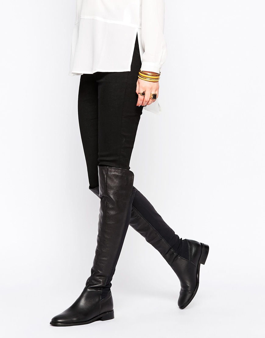 Oasis Premium Over The Knee Flat Boots in Black | Lyst