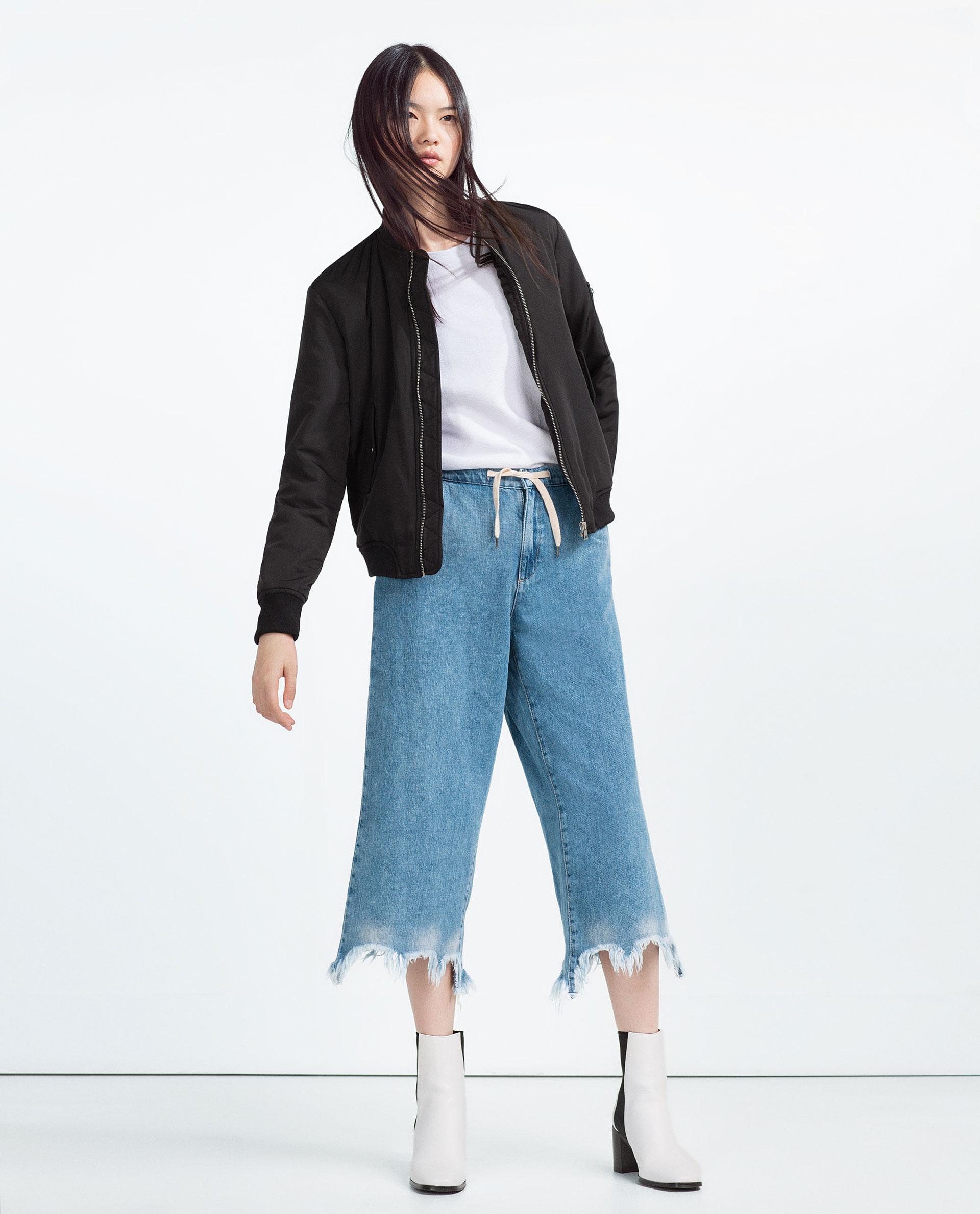 Zara Nylon Bomber Jacket In Black | Lyst
