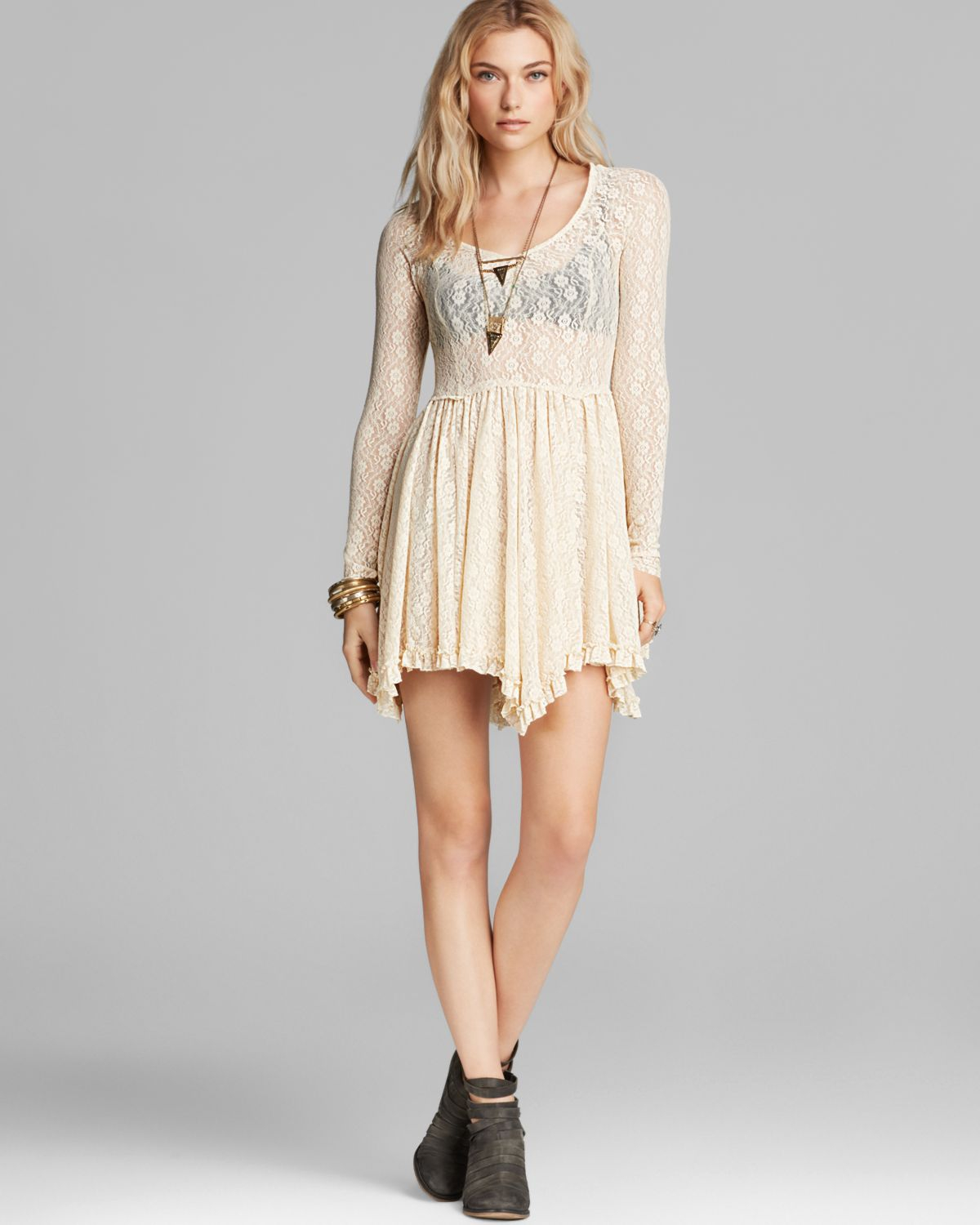 Lyst Free People Slip Dress Star Lace Witchy In Natural