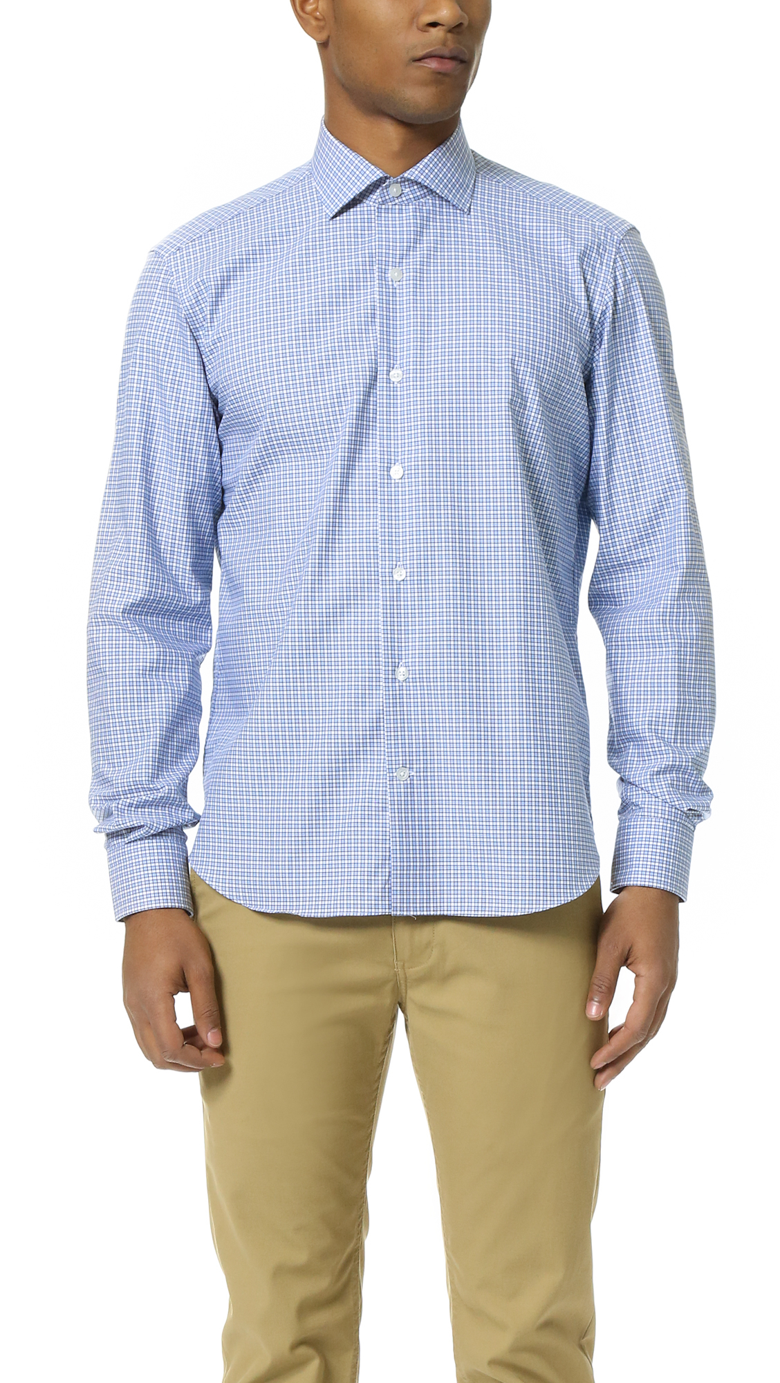 Lyst culturata spread collar mini check shirt in blue for Men s spread collar shirts