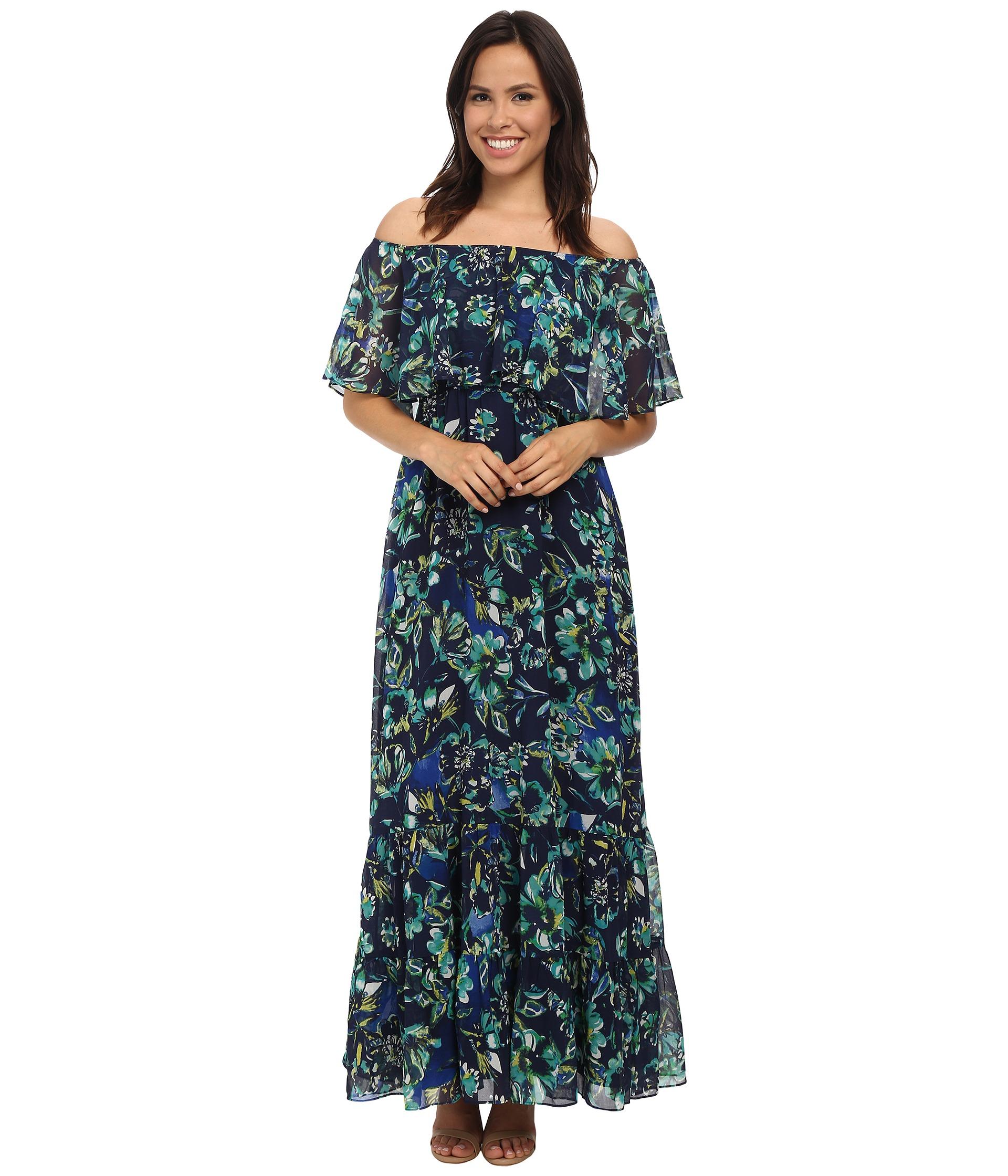 26be9b65fe82 Donna Morgan Off-shoulder Chiffon Maxi Dress - Lyst