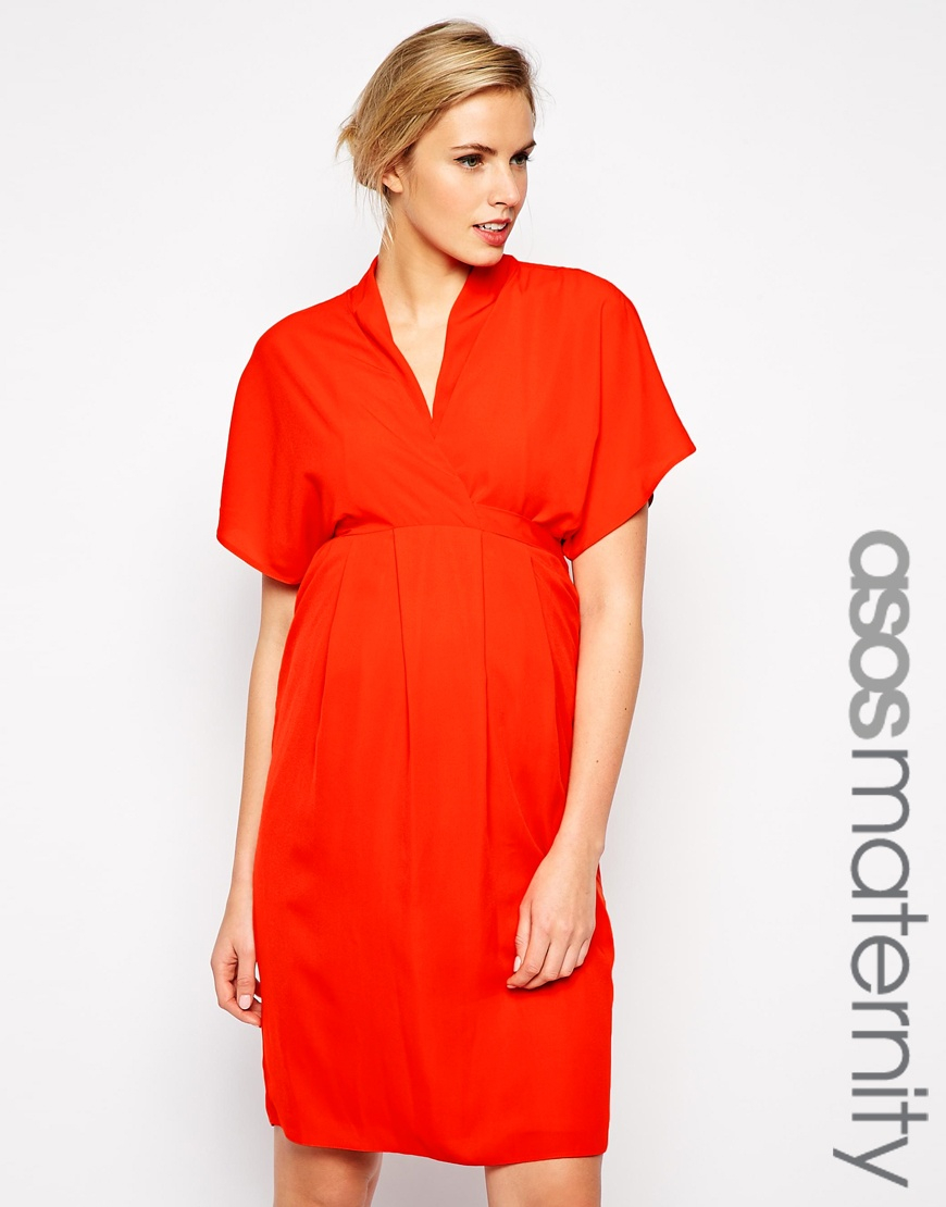 ca8d8ff065f5c ASOS Maternity Work Wear Dress With Kimono Sleeve in Red - Lyst