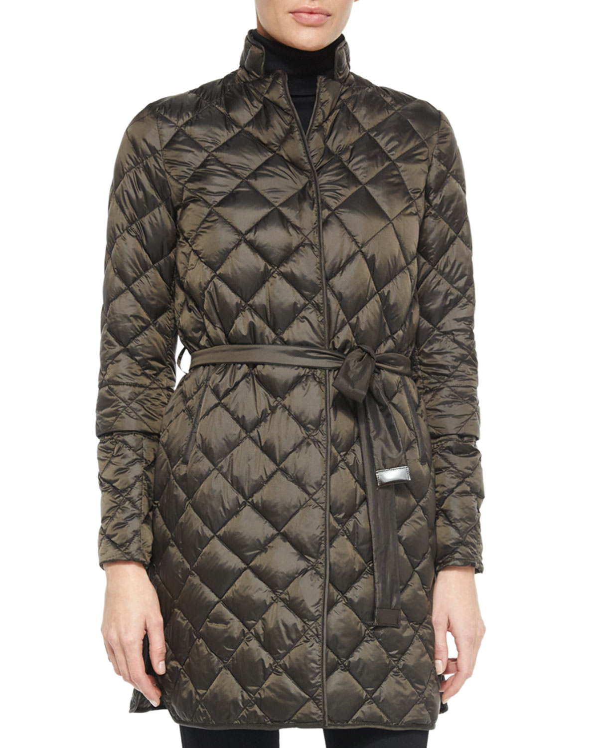 Lyst Max Mara Diamond Quilted Convertible Down Coat In Brown