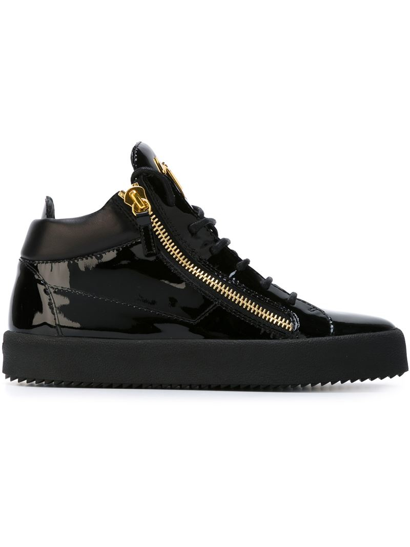 giuseppe zanotti patent leather high top sneakers in black for men lyst. Black Bedroom Furniture Sets. Home Design Ideas