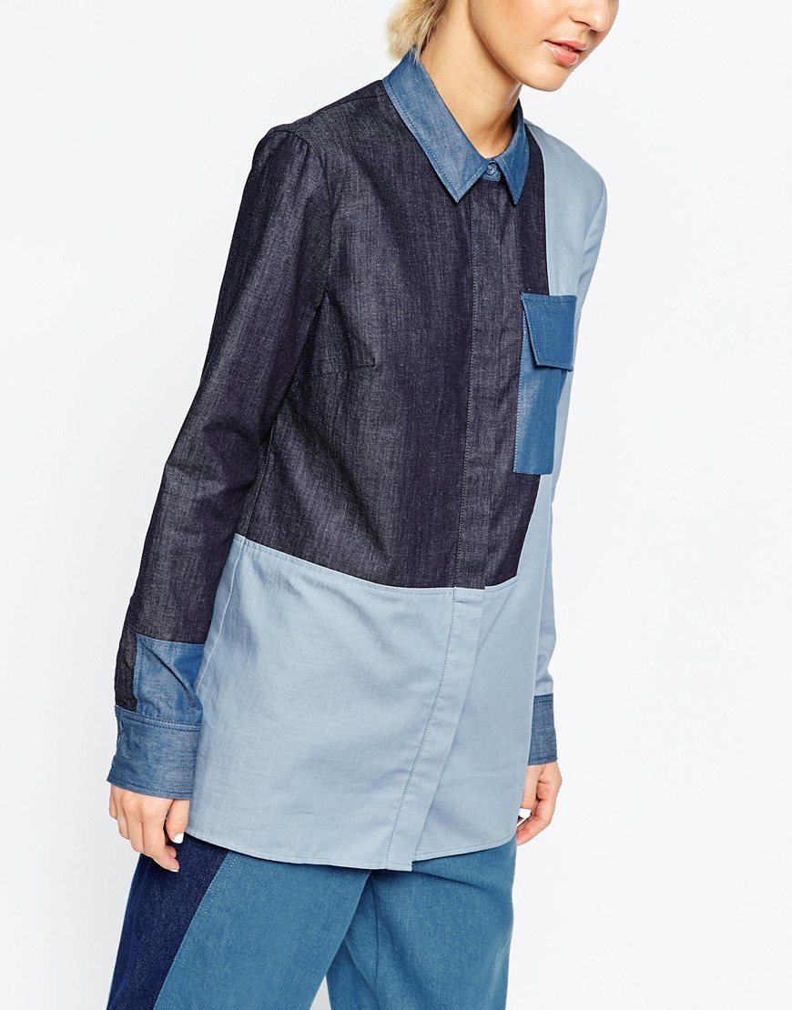Asos white mixed denim chambray shirt in multicolor multi for Chambray jeans