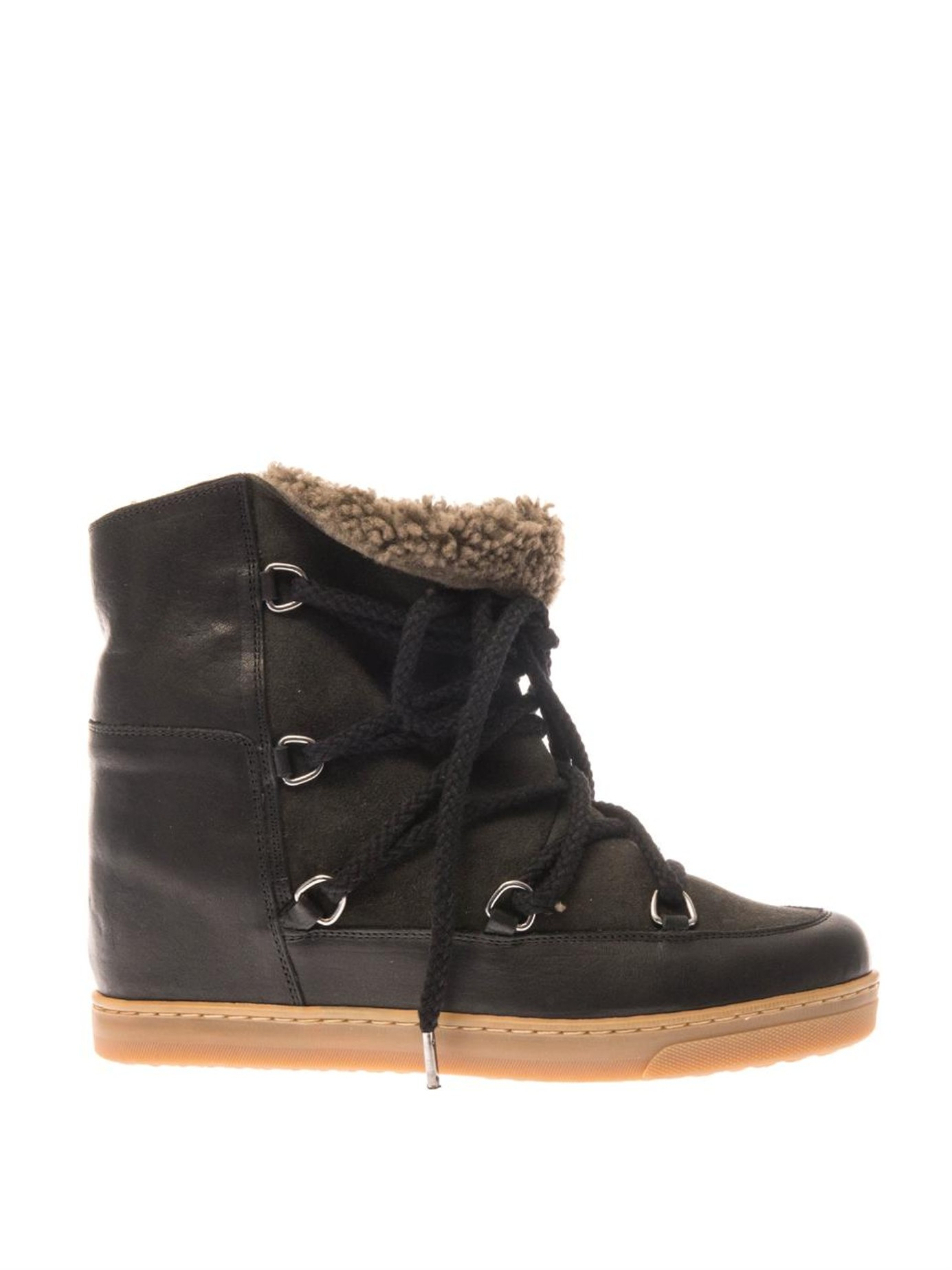 Lyst Isabel Marant Nowles Leather And Suede Wedge Snow