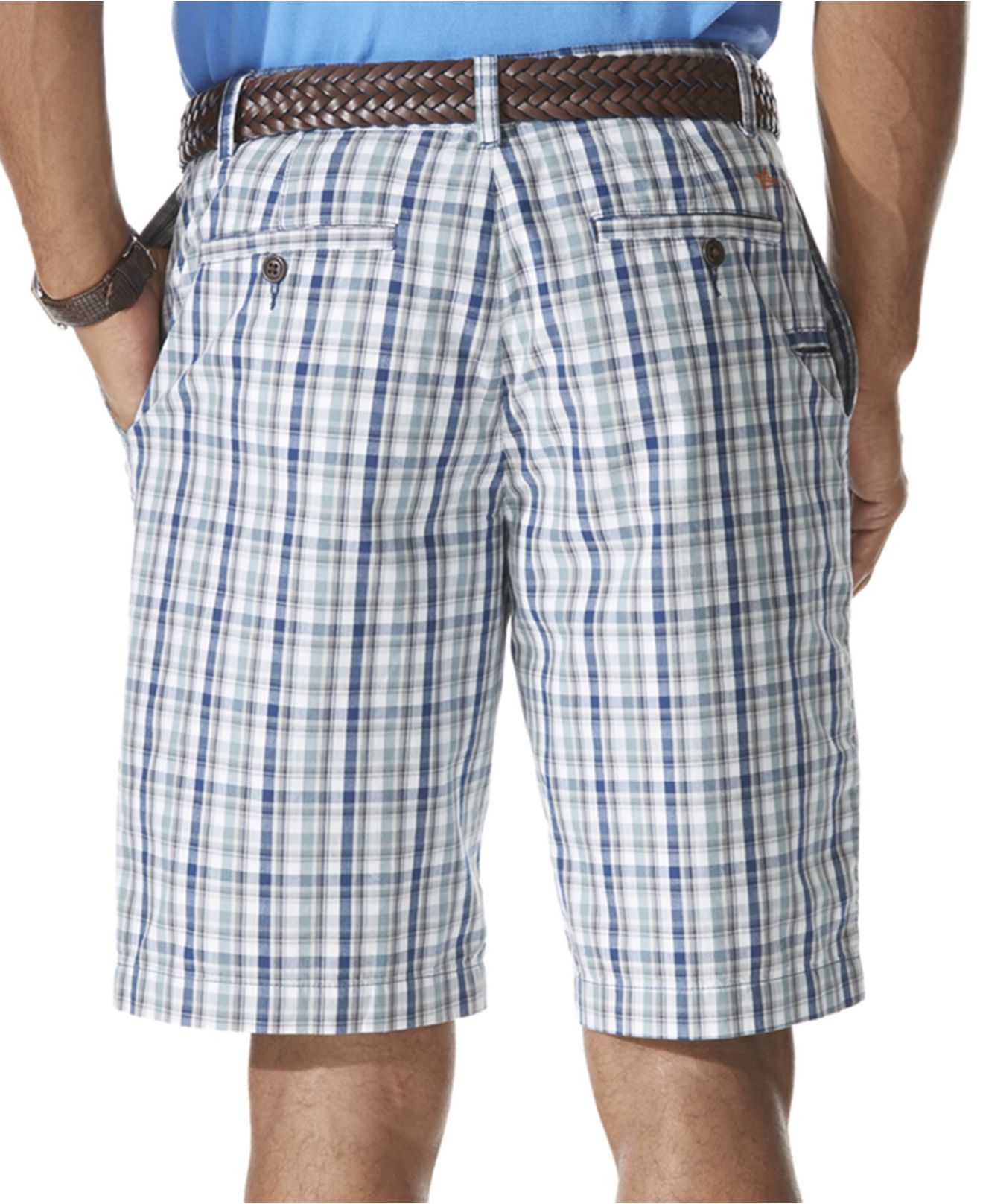 Dockers Flat-Front Perfect Plaid Shorts in Blue for Men | Lyst