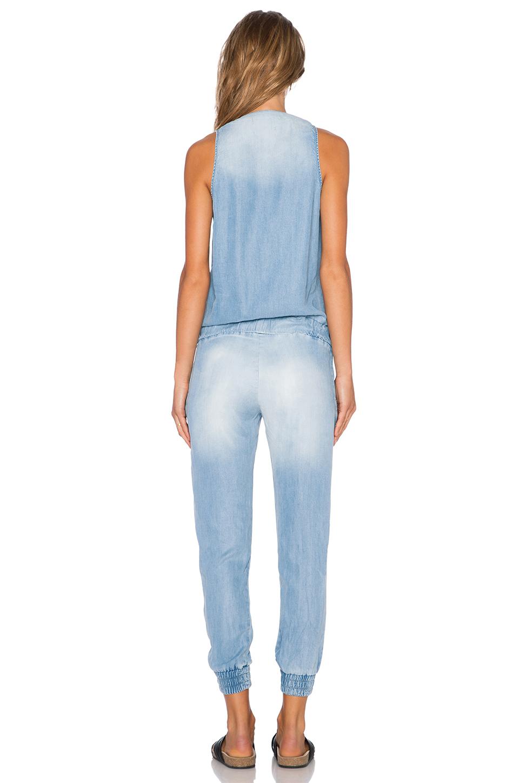 ca163e418e2 Lyst - Monrow Denim Wash Tencel Jumpsuit in Blue