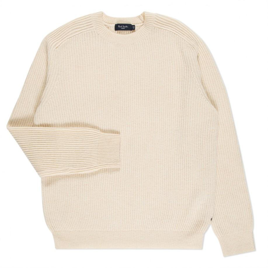 Paul smith Men's Cream Merino Wool Ribbed Sweater in Natural for ...