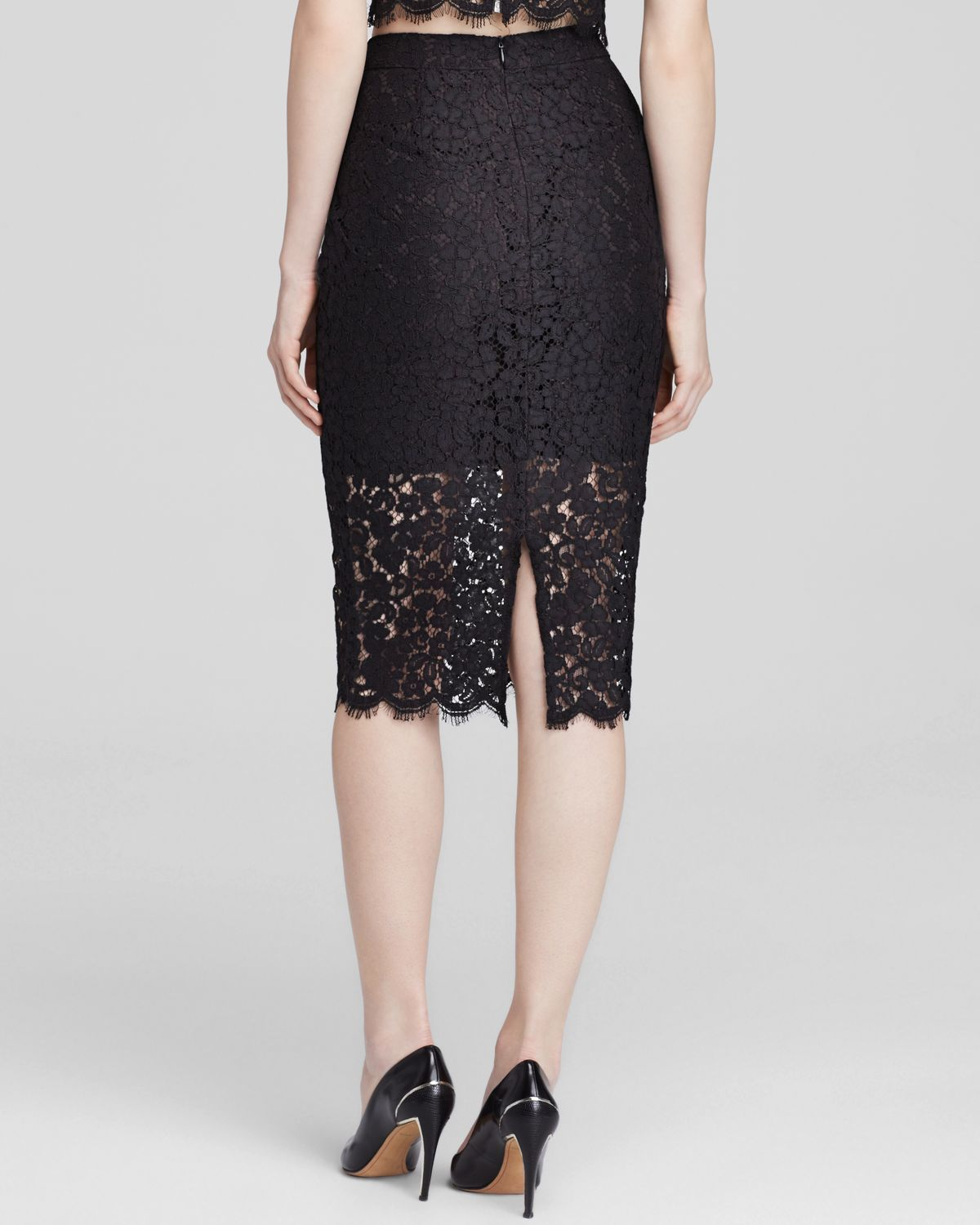bardot lace pencil skirt in black lyst
