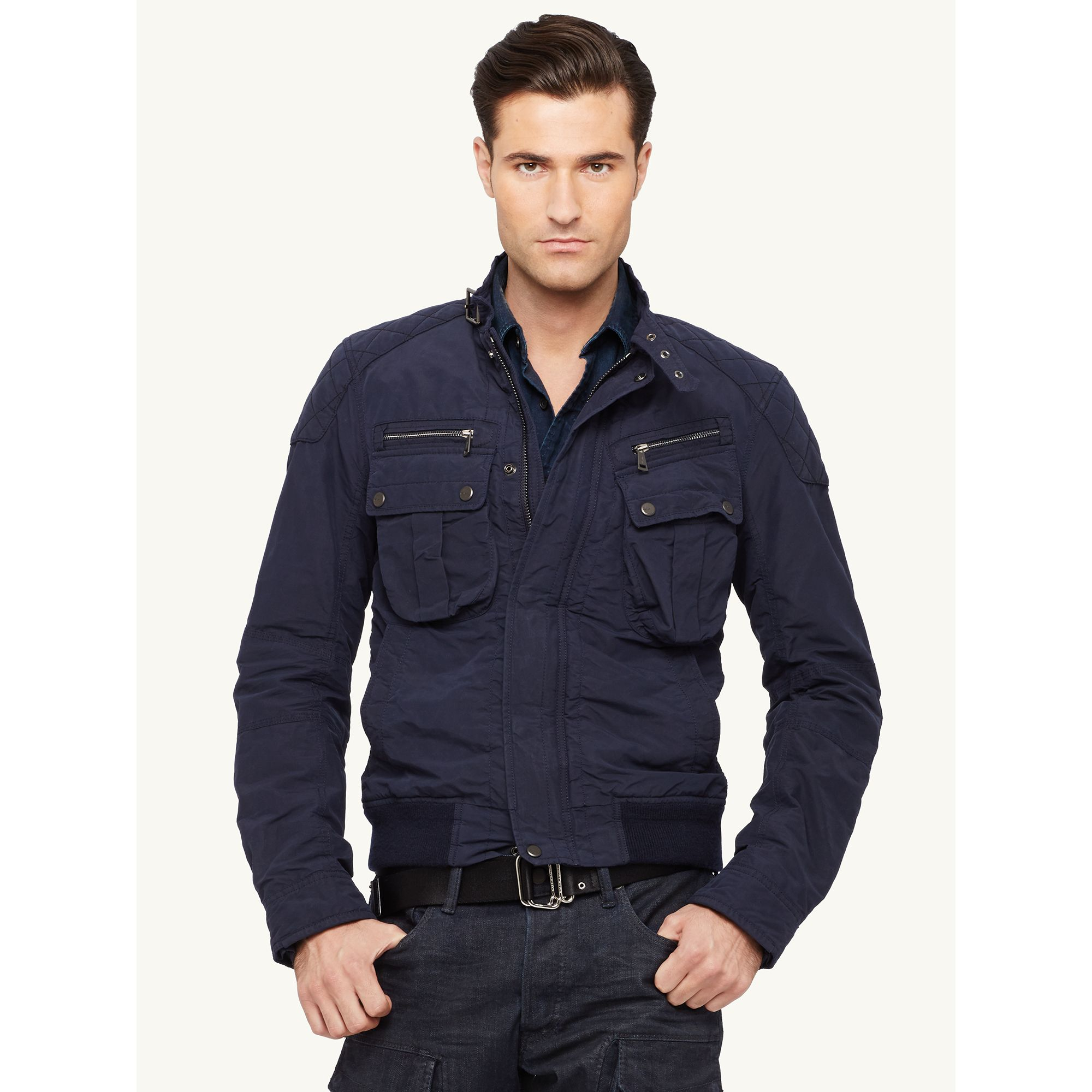 Ralph lauren black label Biker-bomber Jacket in Blue for Men | Lyst