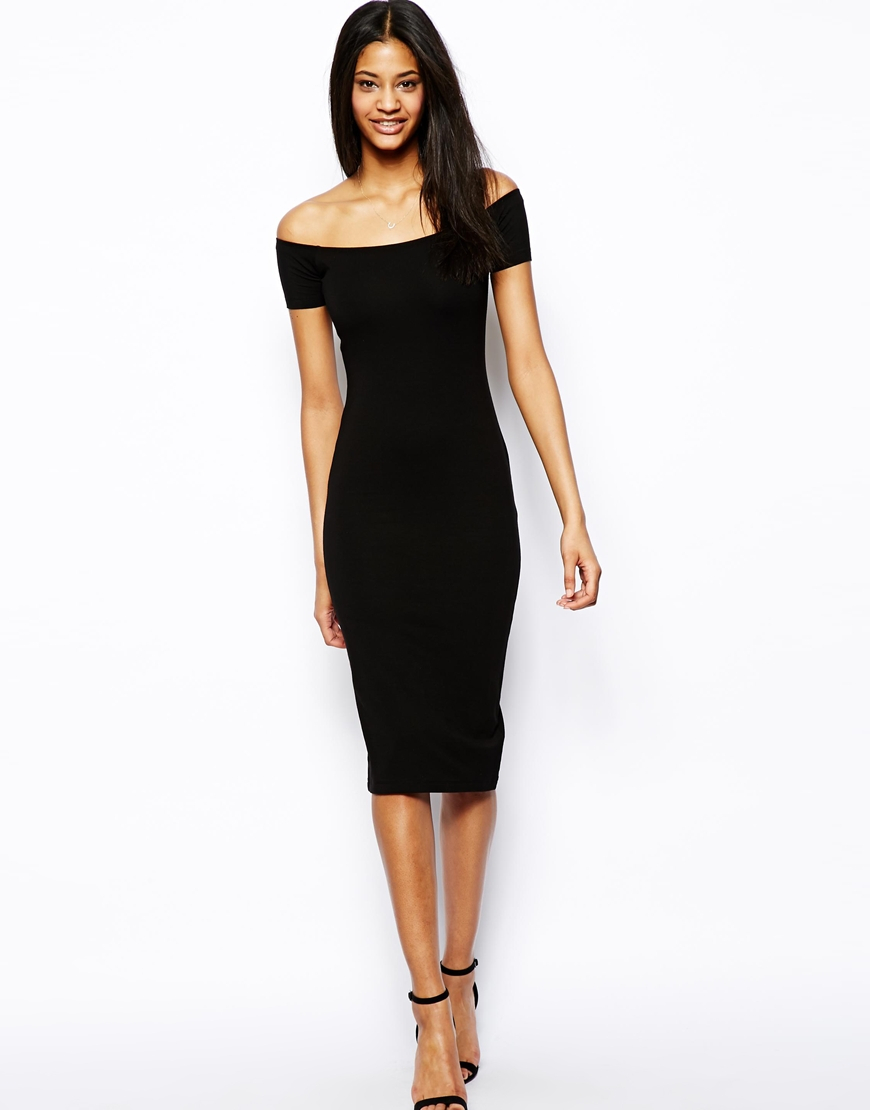 Asos Midi Bardot Bodycon Dress In Black Lyst