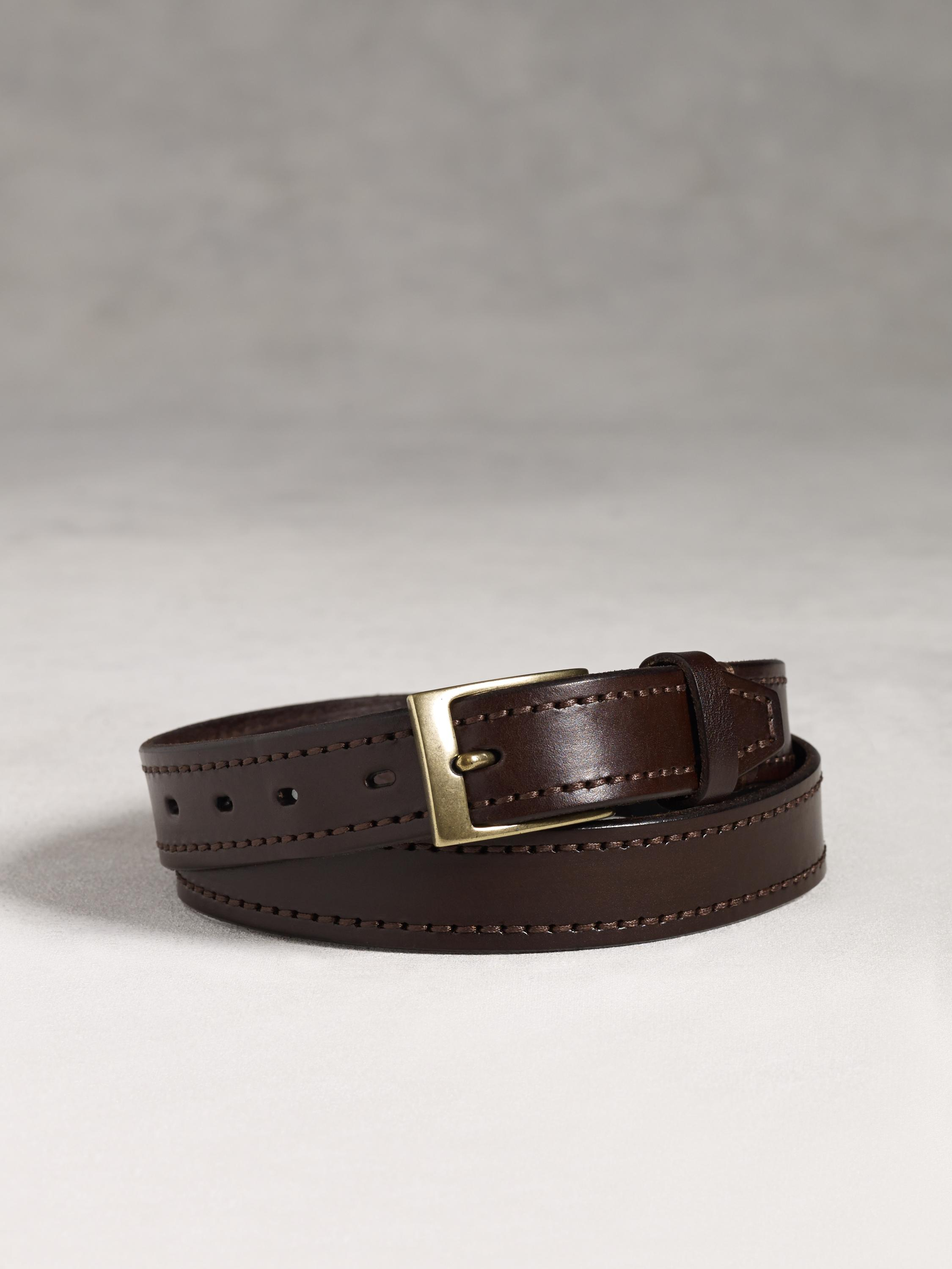 varvatos self stitched leather belt in brown for