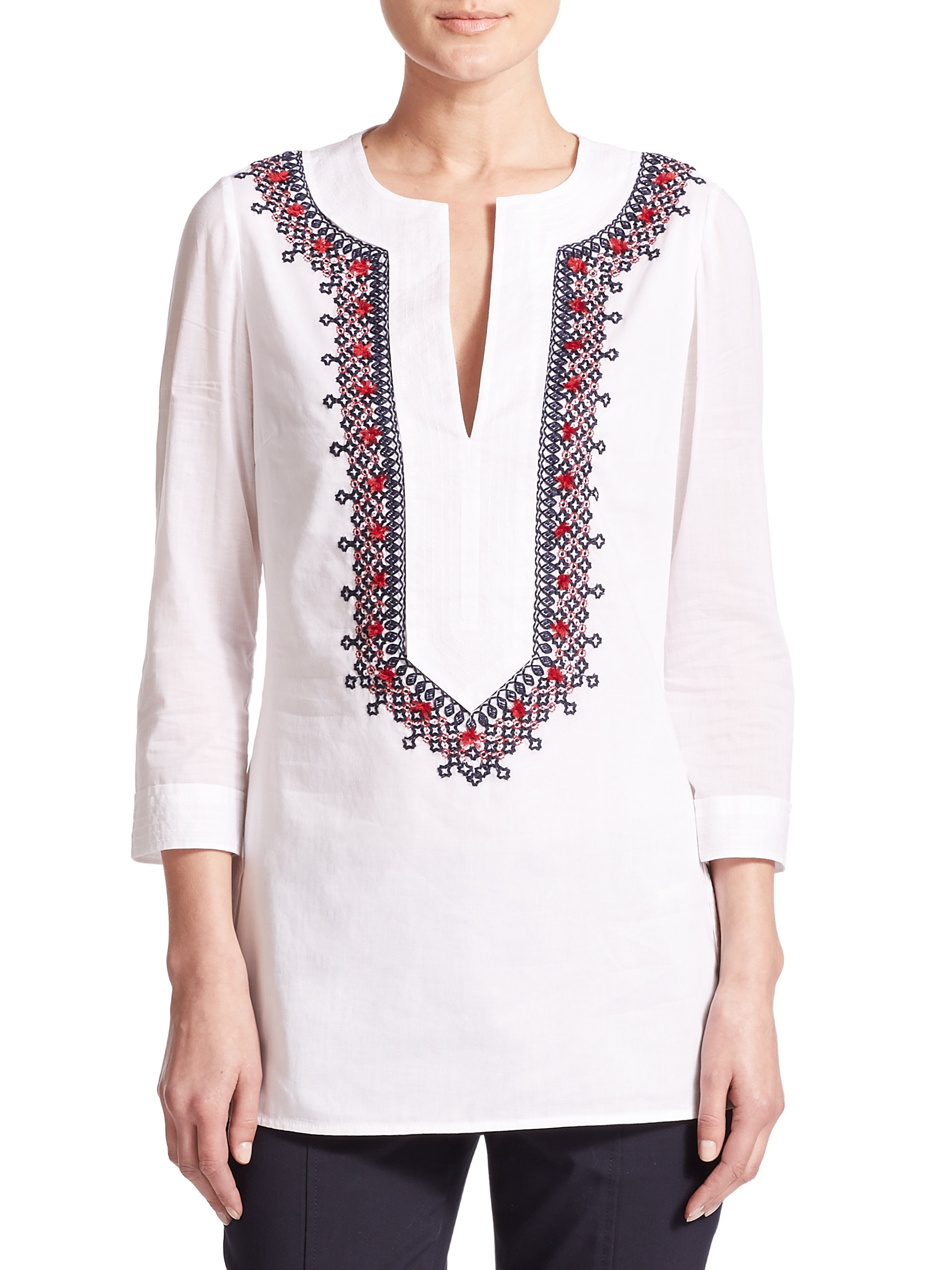 Lyst Tory Burch Embroidered Cotton Tunic In White