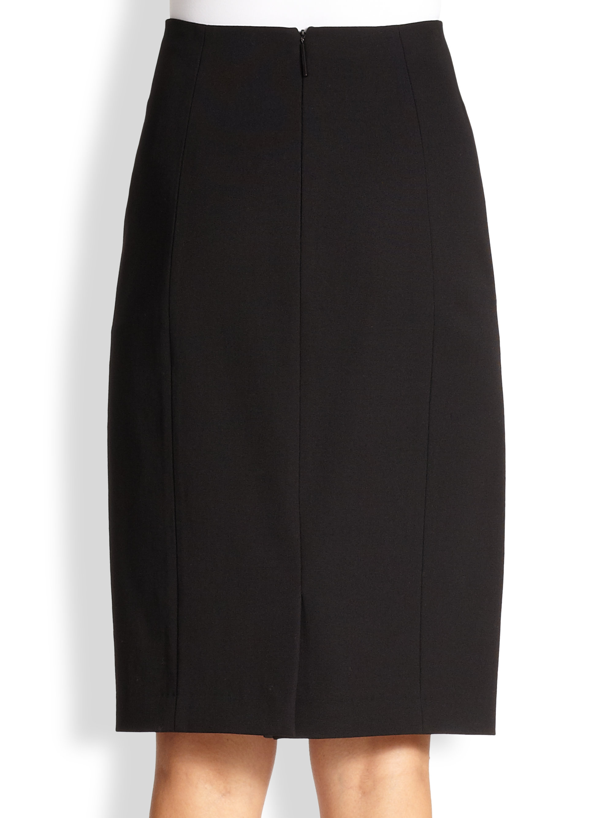 burberry leather trimmed pencil skirt in black lyst