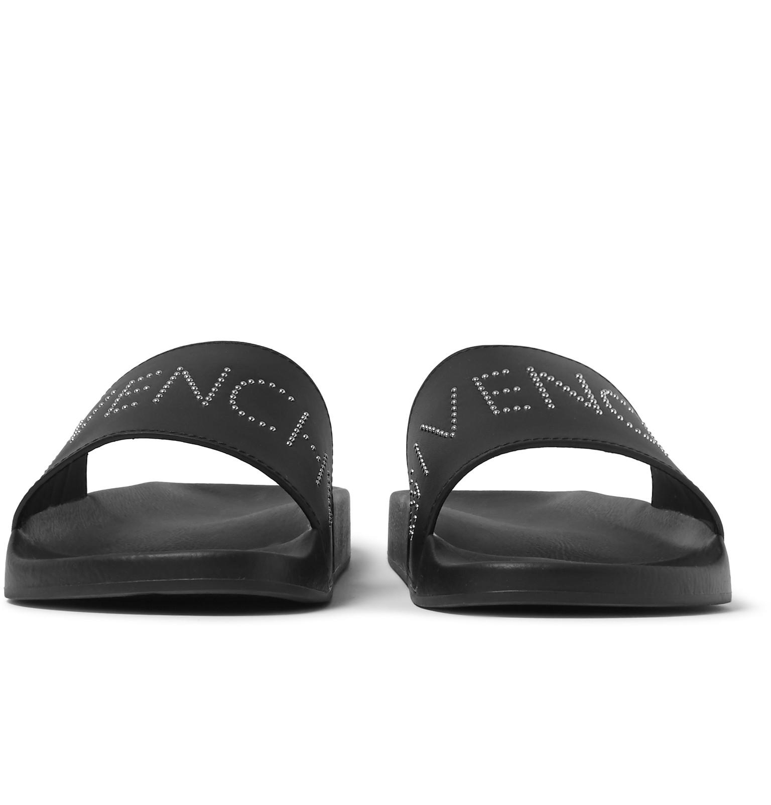 ddfef435eb2b Givenchy Studded Leather Slides in Black for Men - Lyst