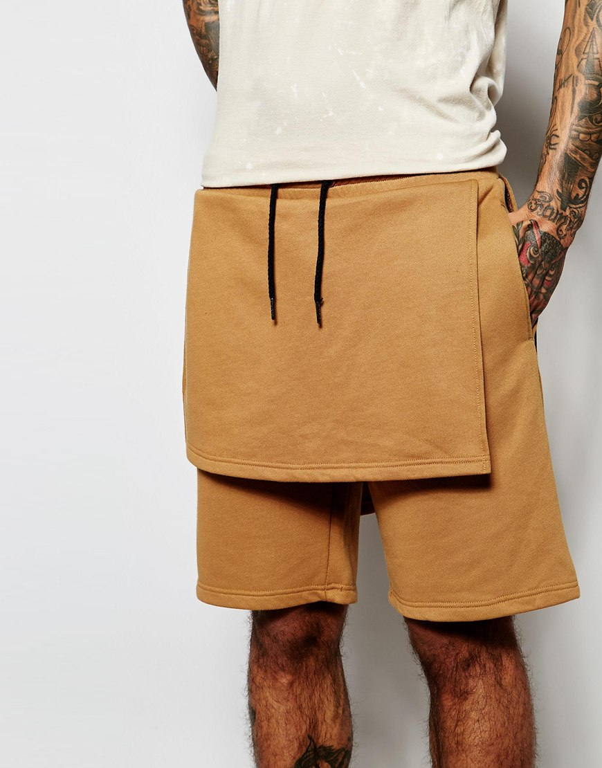 Underated Sweat Shorts With Layering in Orange for Men | Lyst
