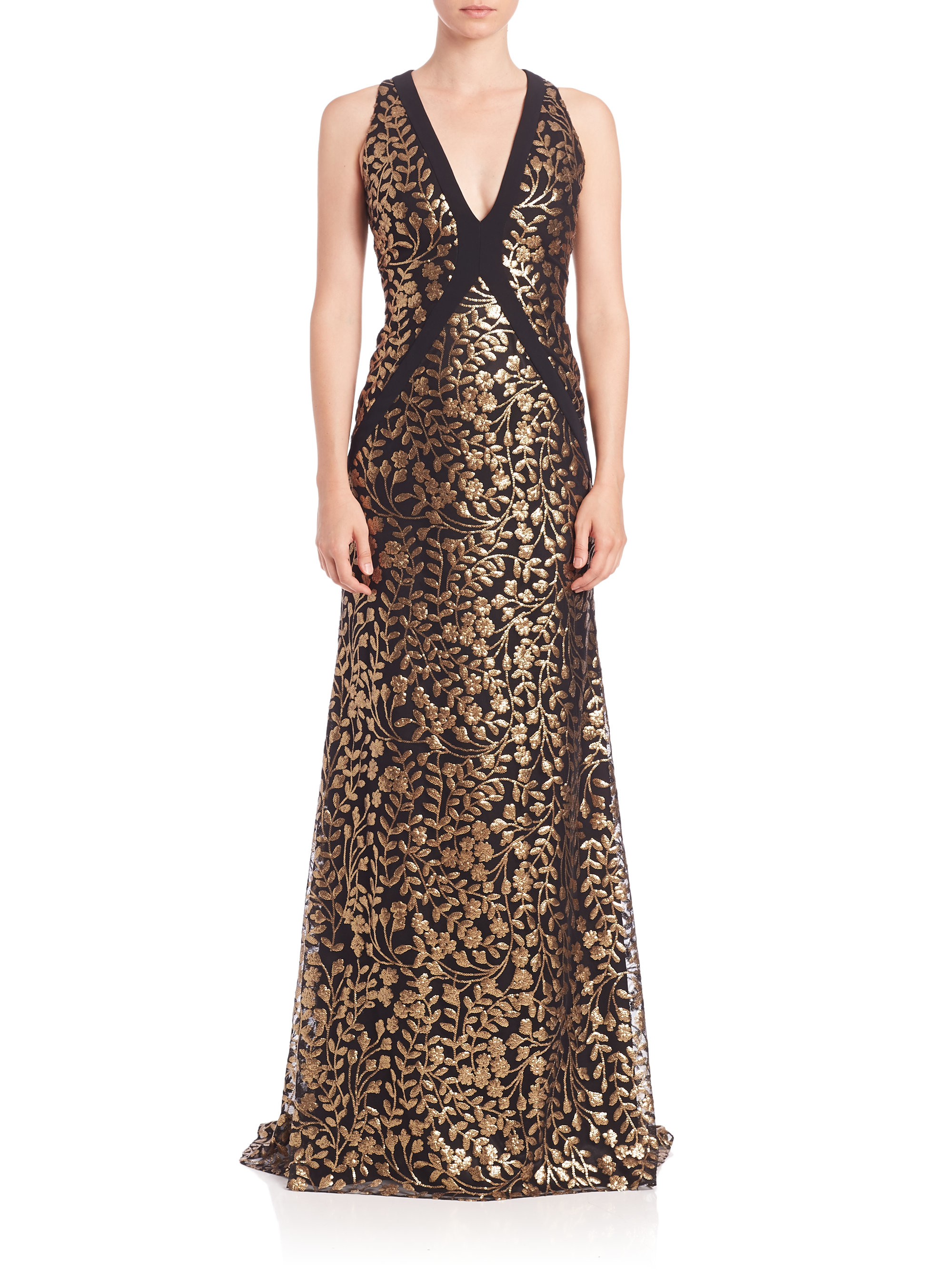 Lyst - Carmen Marc Valvo Embroidered V-neck Gown in Metallic