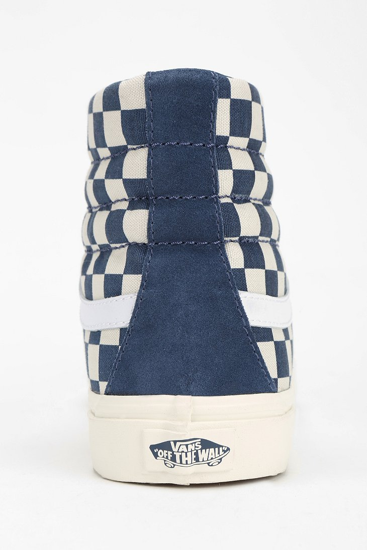 vans sk8 hi blue checkerboard
