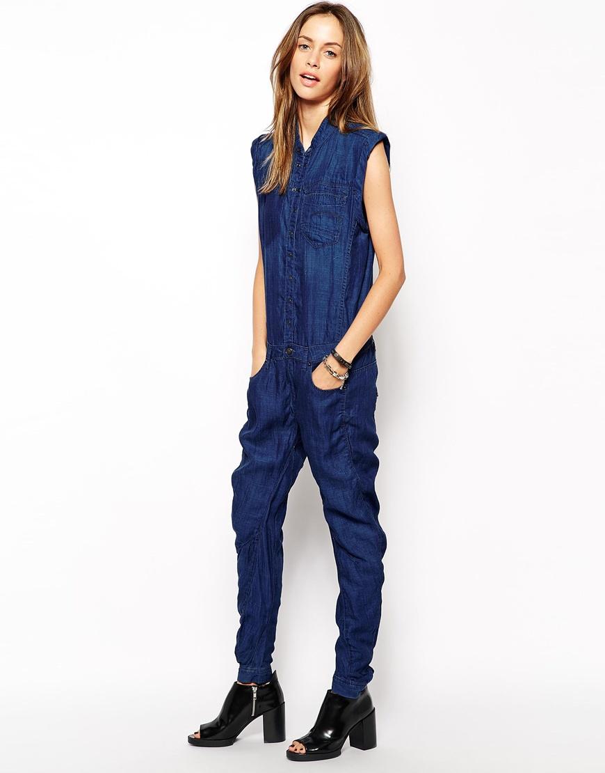 g star raw riley 3d denim jumpsuit in blue lyst. Black Bedroom Furniture Sets. Home Design Ideas