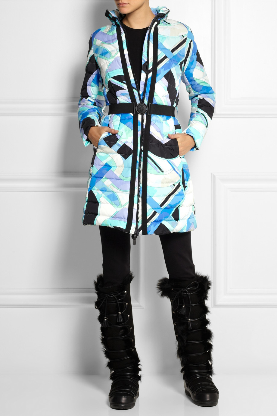 1190c5162c7f Lyst - Emilio Pucci Quilted Printed Shell Down Coat in Blue