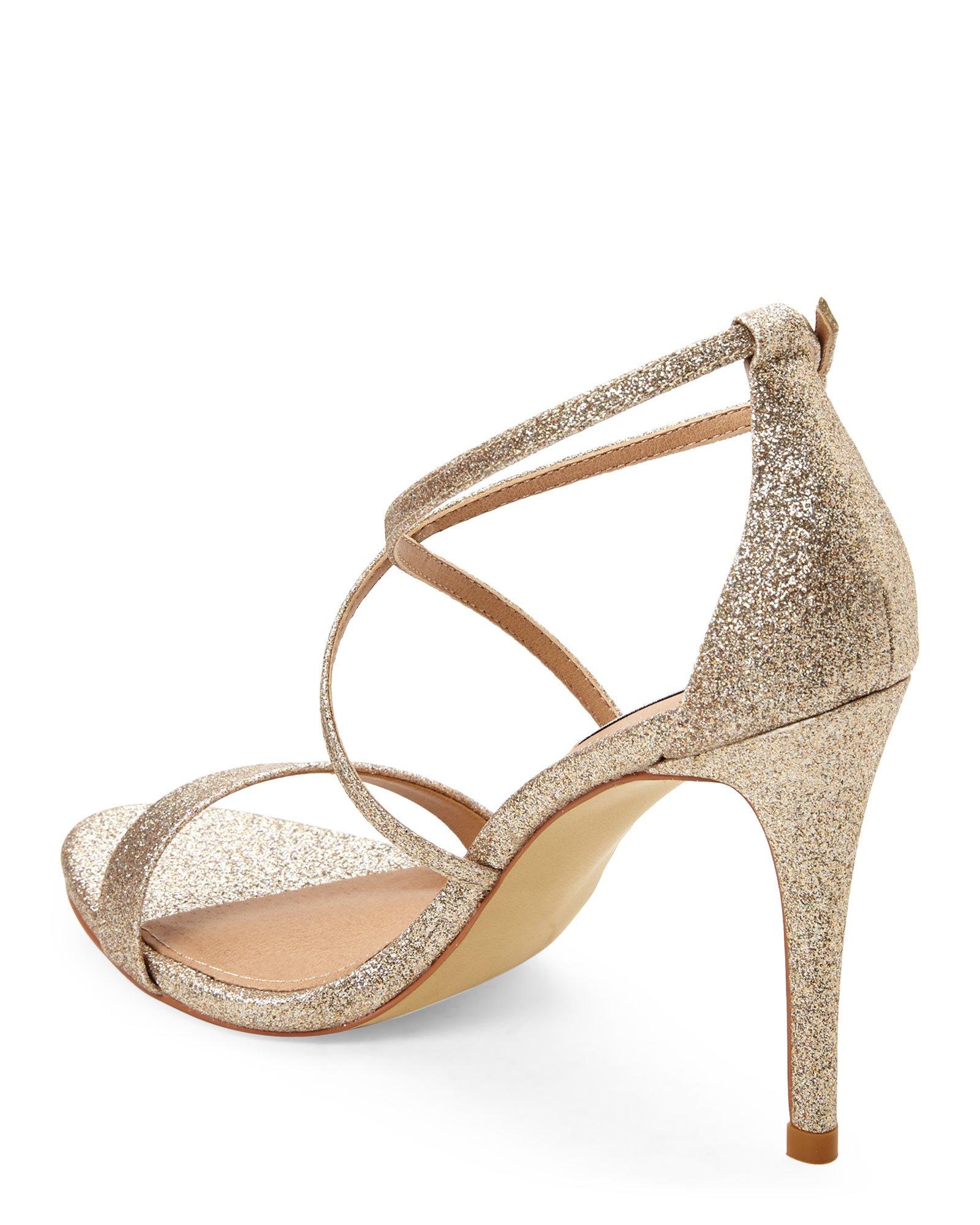 44bc0ef72c7 Gold Glitter Strappy Heels - Is Heel