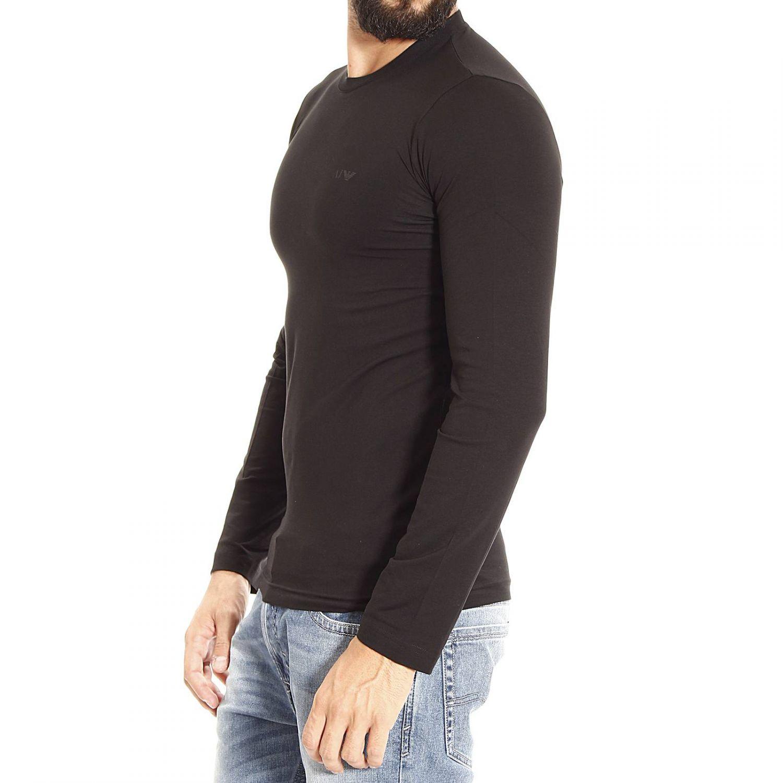 armani jeans t shirt long sleeve crewneck basic in black for men lyst. Black Bedroom Furniture Sets. Home Design Ideas